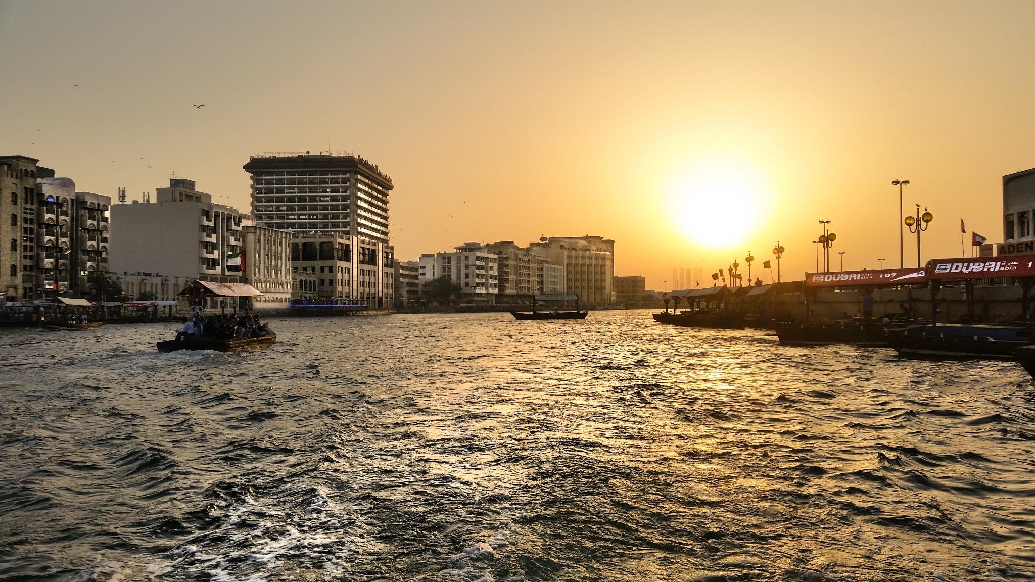 Dubai Creek Sunset by Victor Prey