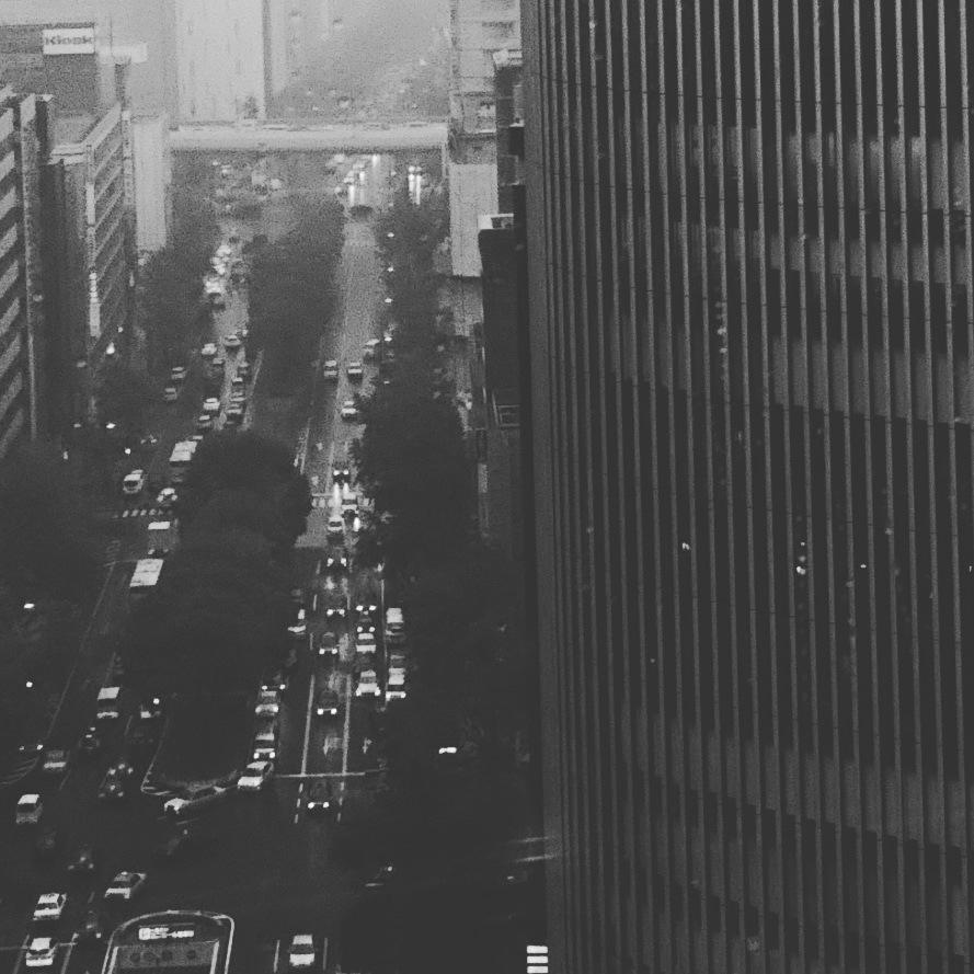 RAIN BEGAN TO GET OFF by karen yano