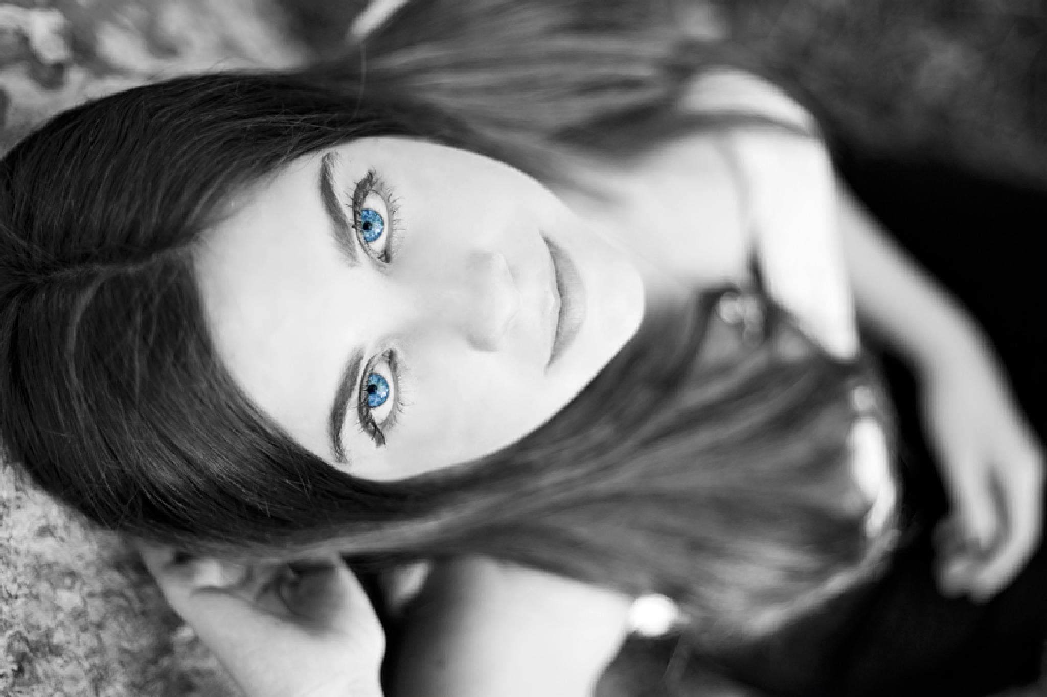 Photo in Journalism #women #black #white #eye #blue