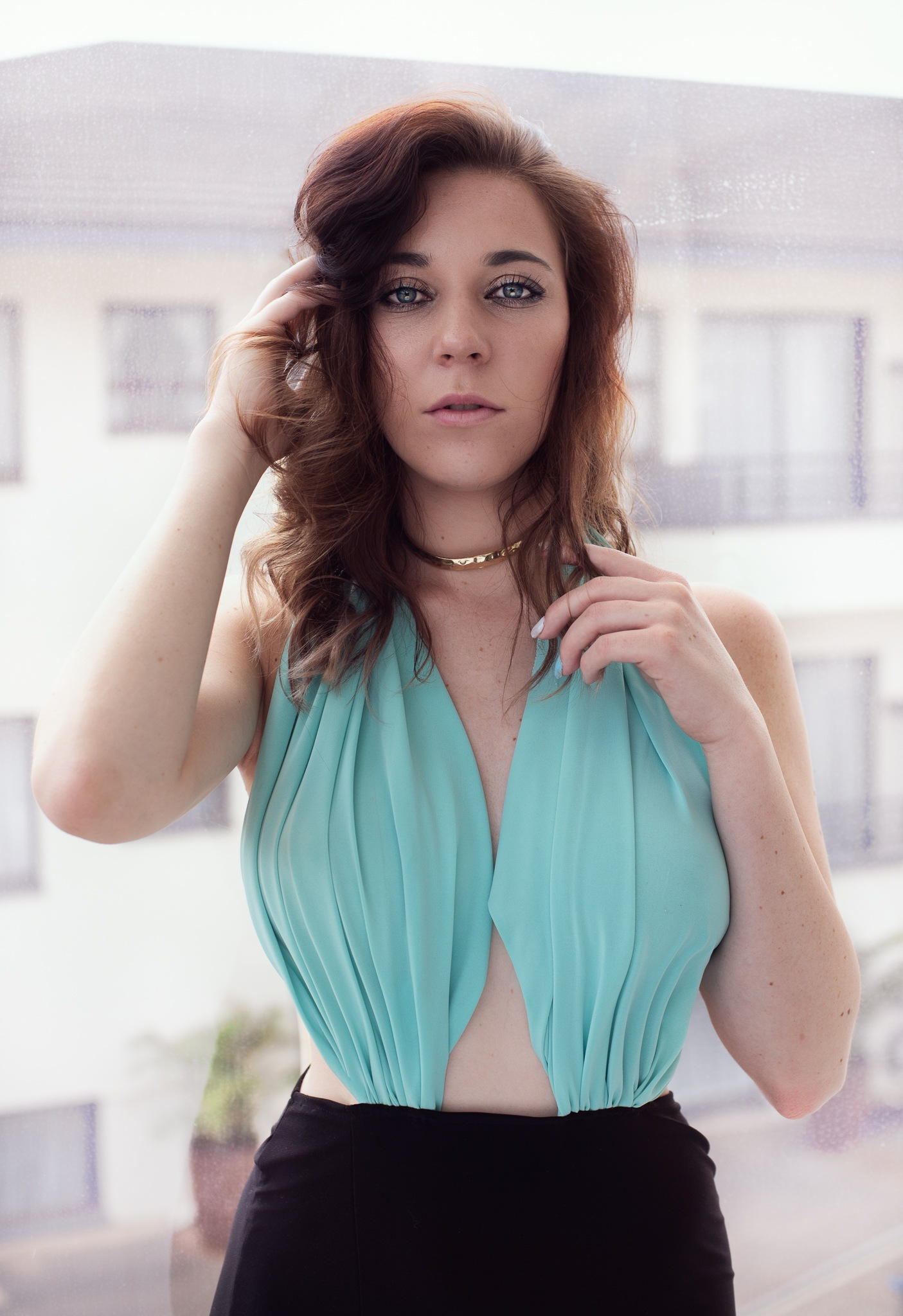 Photo in Portrait #portrait #fashion #indoors #dress #brunette #woman #model #window #backlit #natural light
