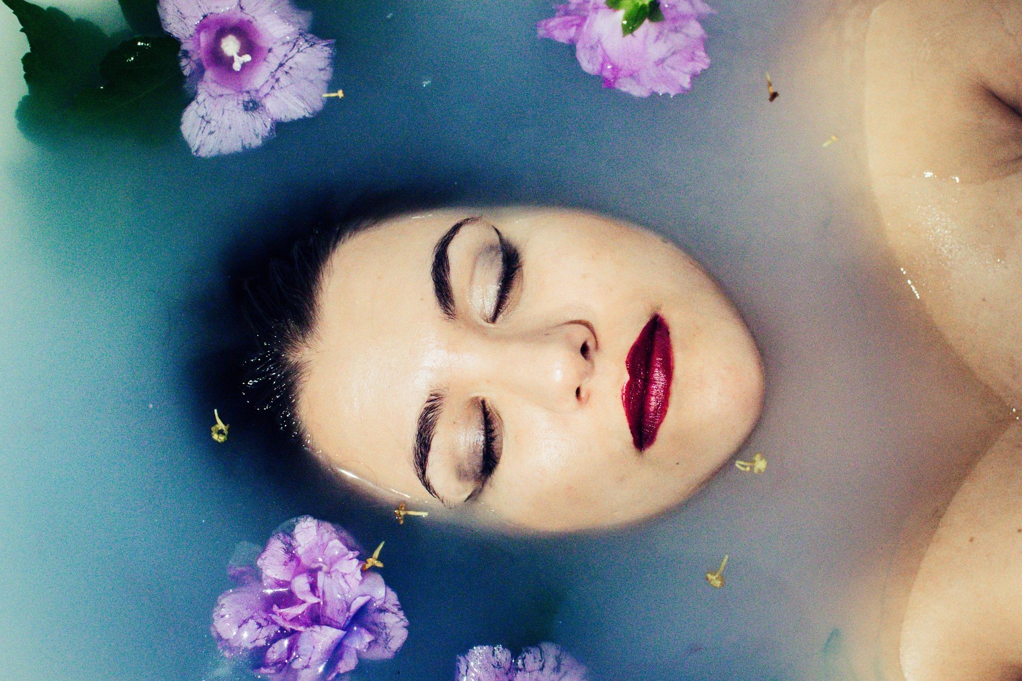 Another Milk & Flowers Bath Portrait by Christy Kourkloglou