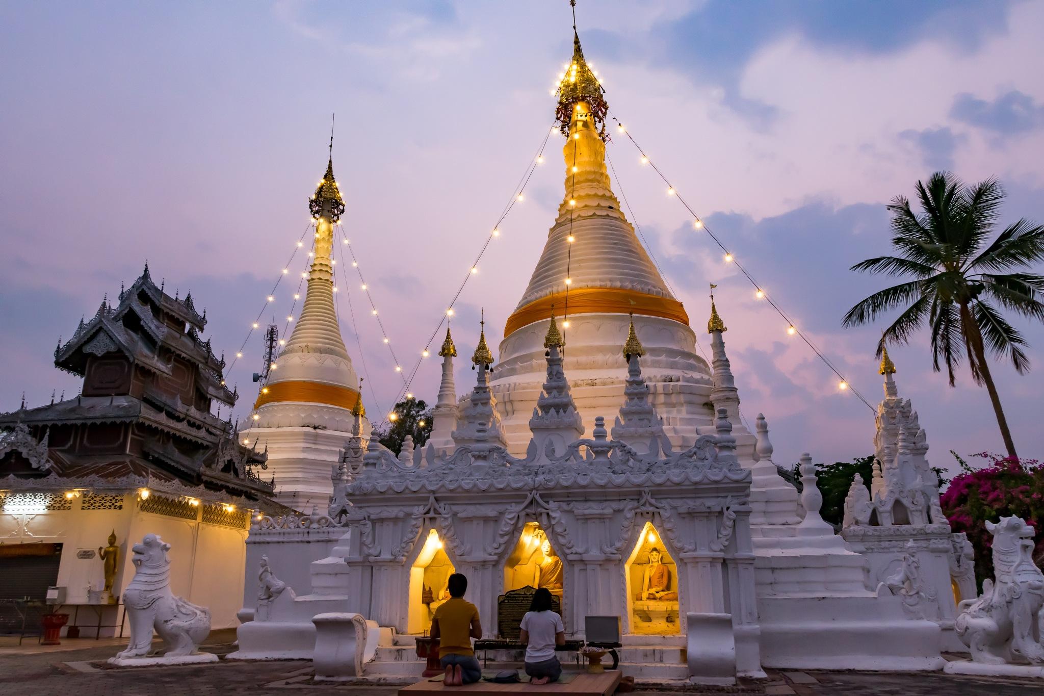 Praying in the Pagoda by Jose Miguel Moya Gonzalez