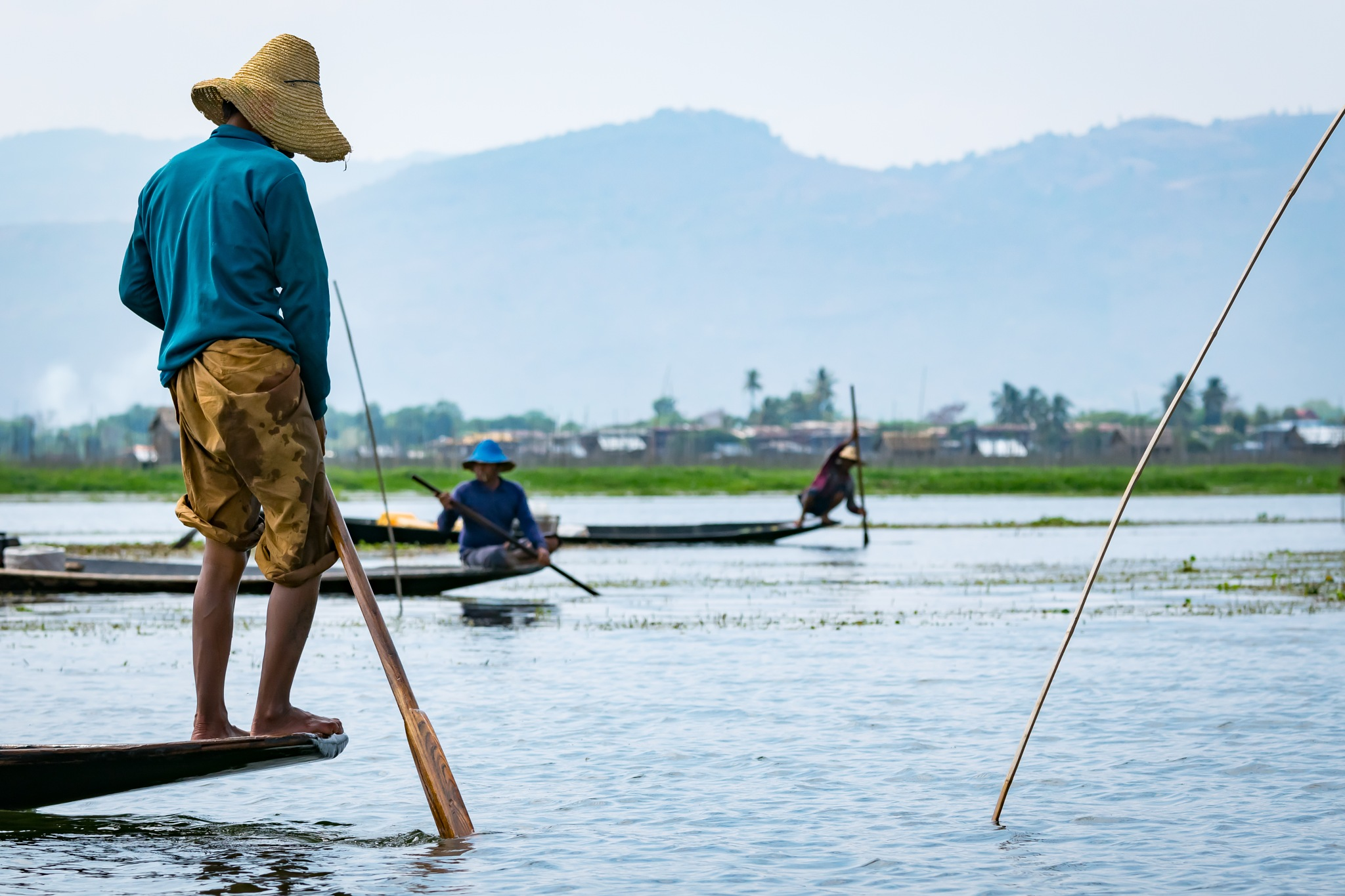 Fishermen at Inle Lake III by Jose Miguel Moya Gonzalez
