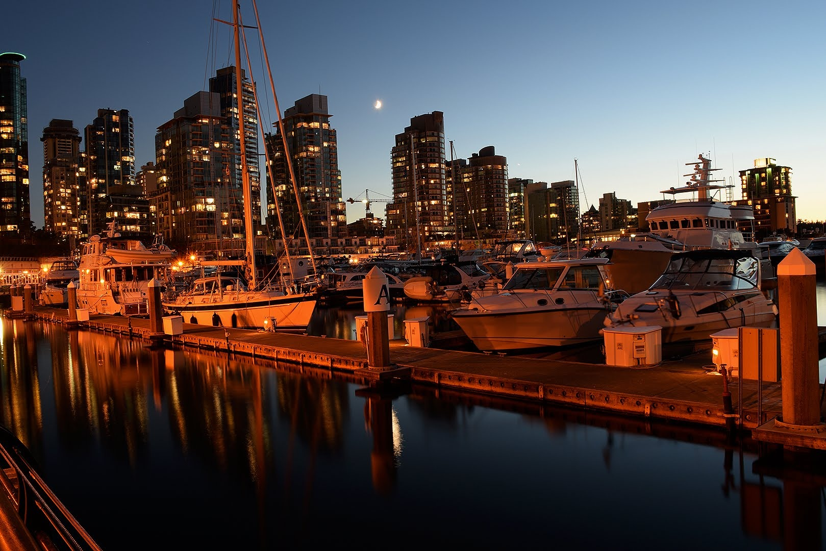 Moon over Coal Harbour, Vancouver, BC Canada by #gregozphotos