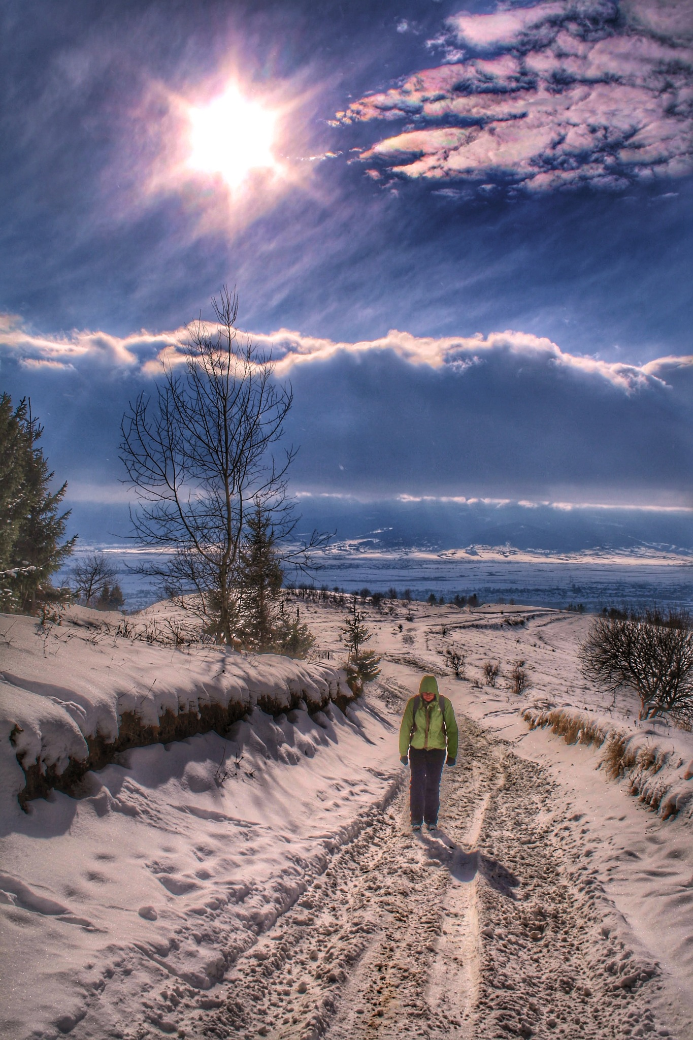 Photo in Random #clouds #sunlight #brightness #could #walking #snow #winter #woman