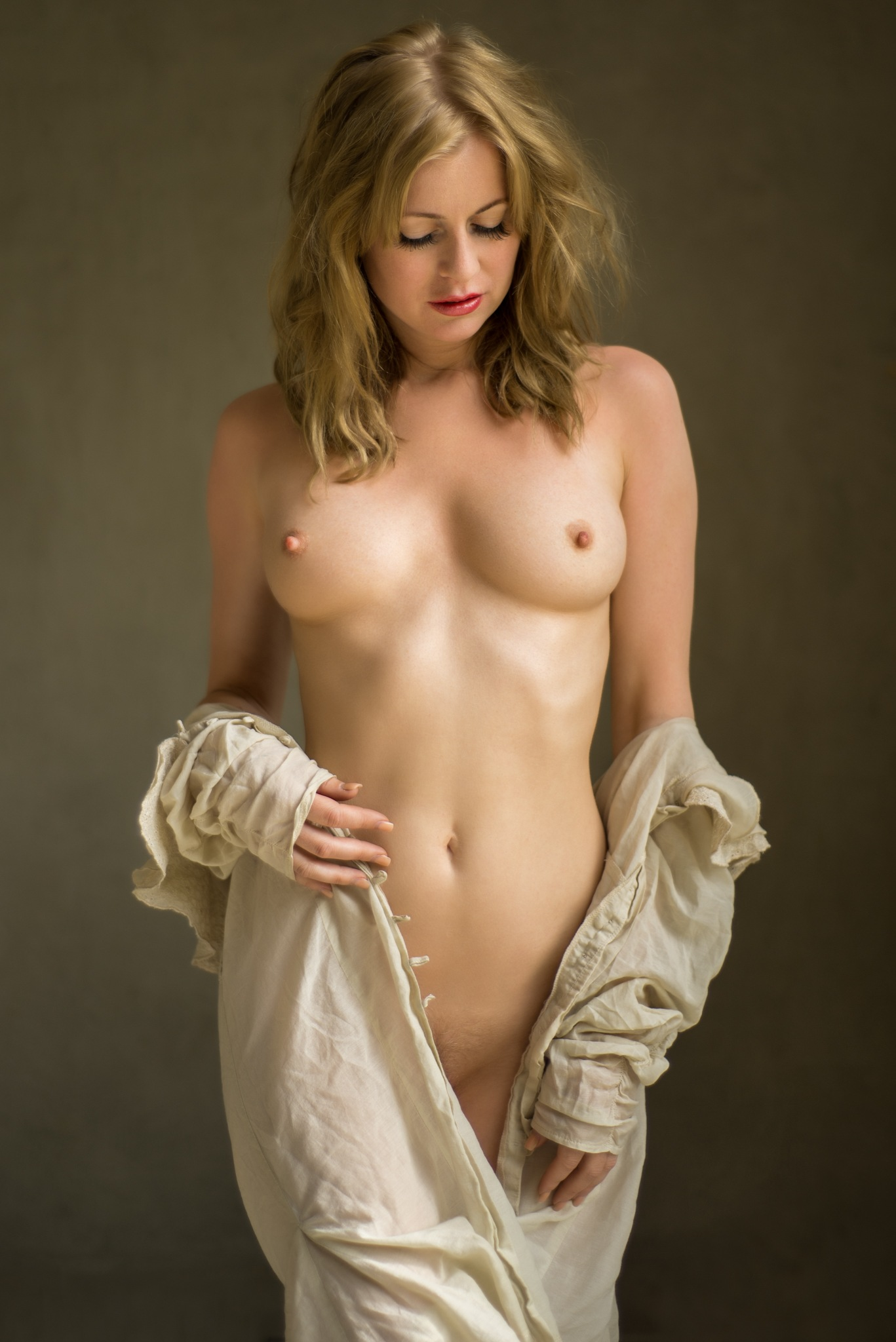 Photo in Nude #nudeart #artnude #woman #naked #blonde #painting #beauty #shirt