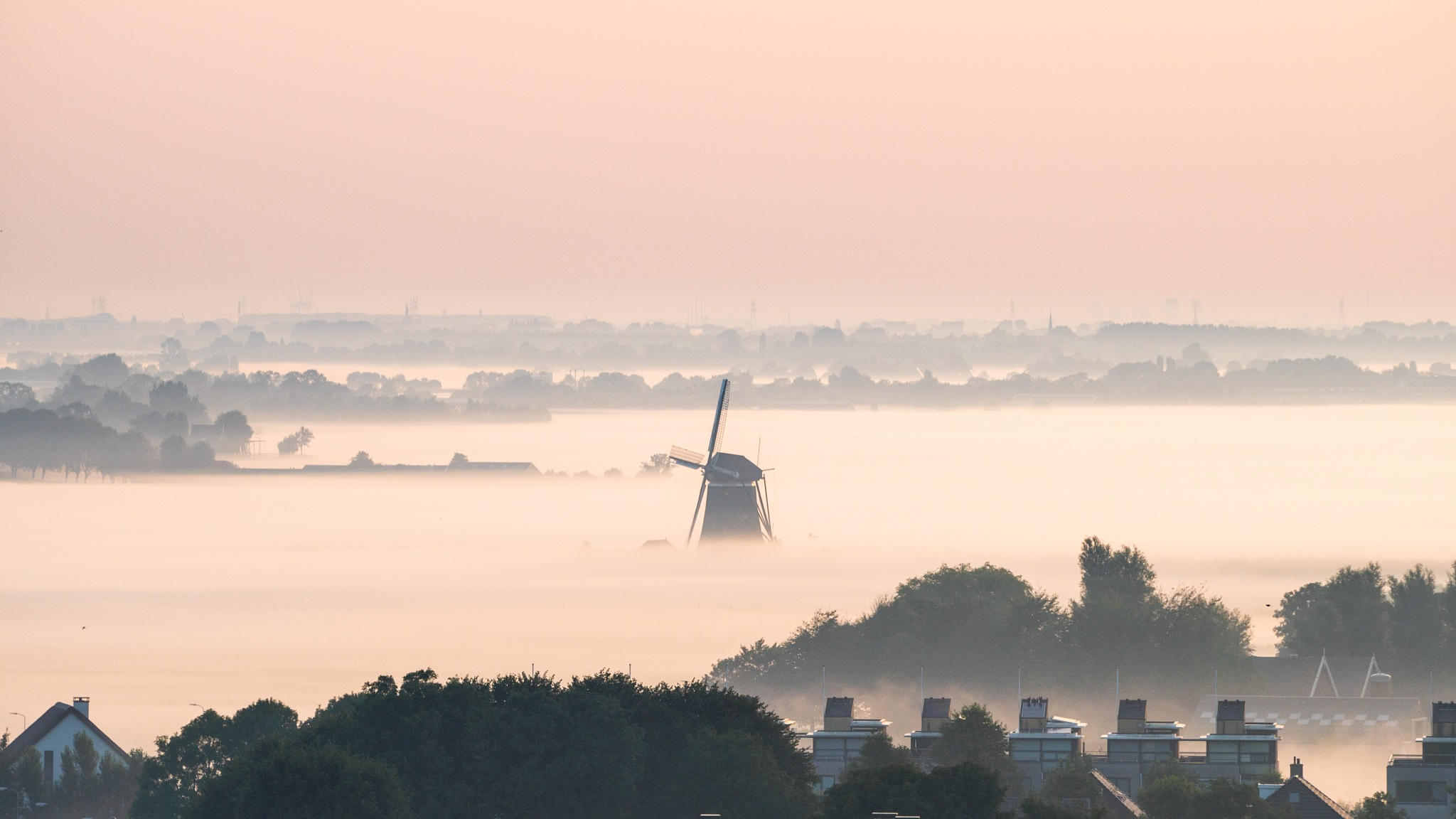 Mill in the mist by Jos van der Zon