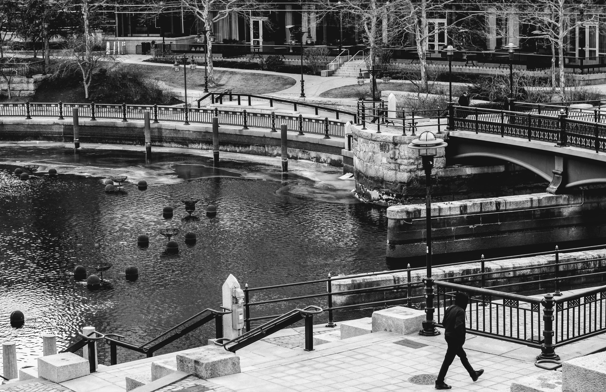 Photo in Street Photography #street photography #black and white #people #city #river #park #waterfront #urban #providence #rhode island