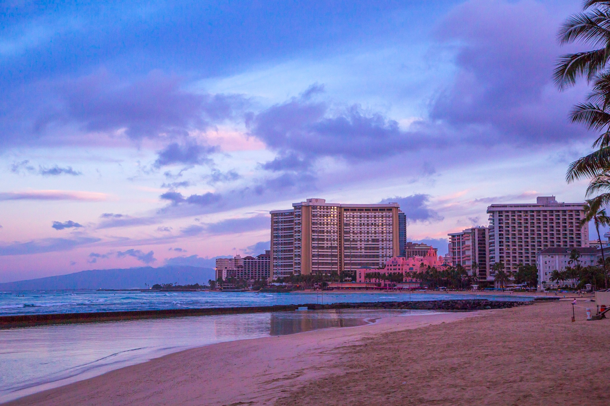 Sunrise along Waikiki Beach by what_i_c_studio