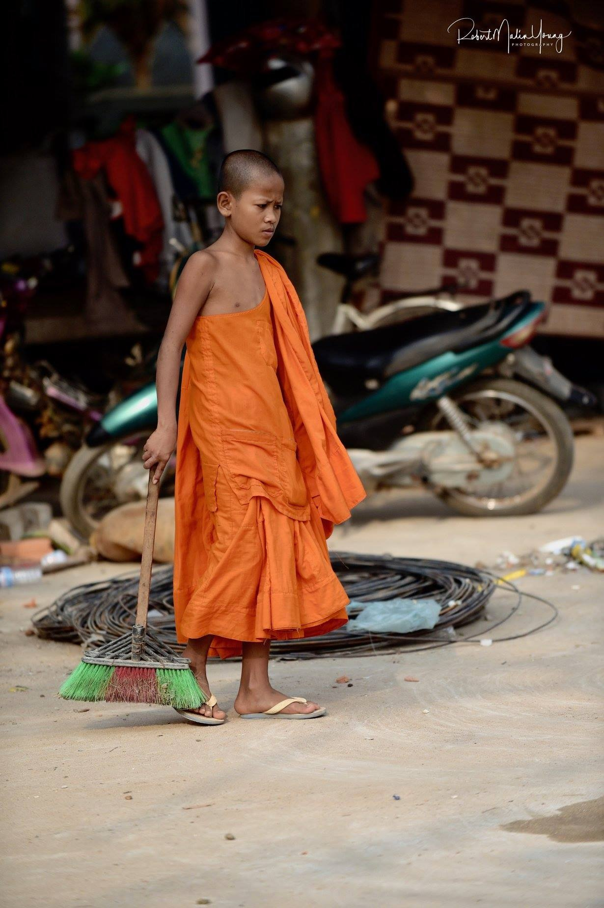 Cambodia - young monk - 2017 by Robert Malin Young