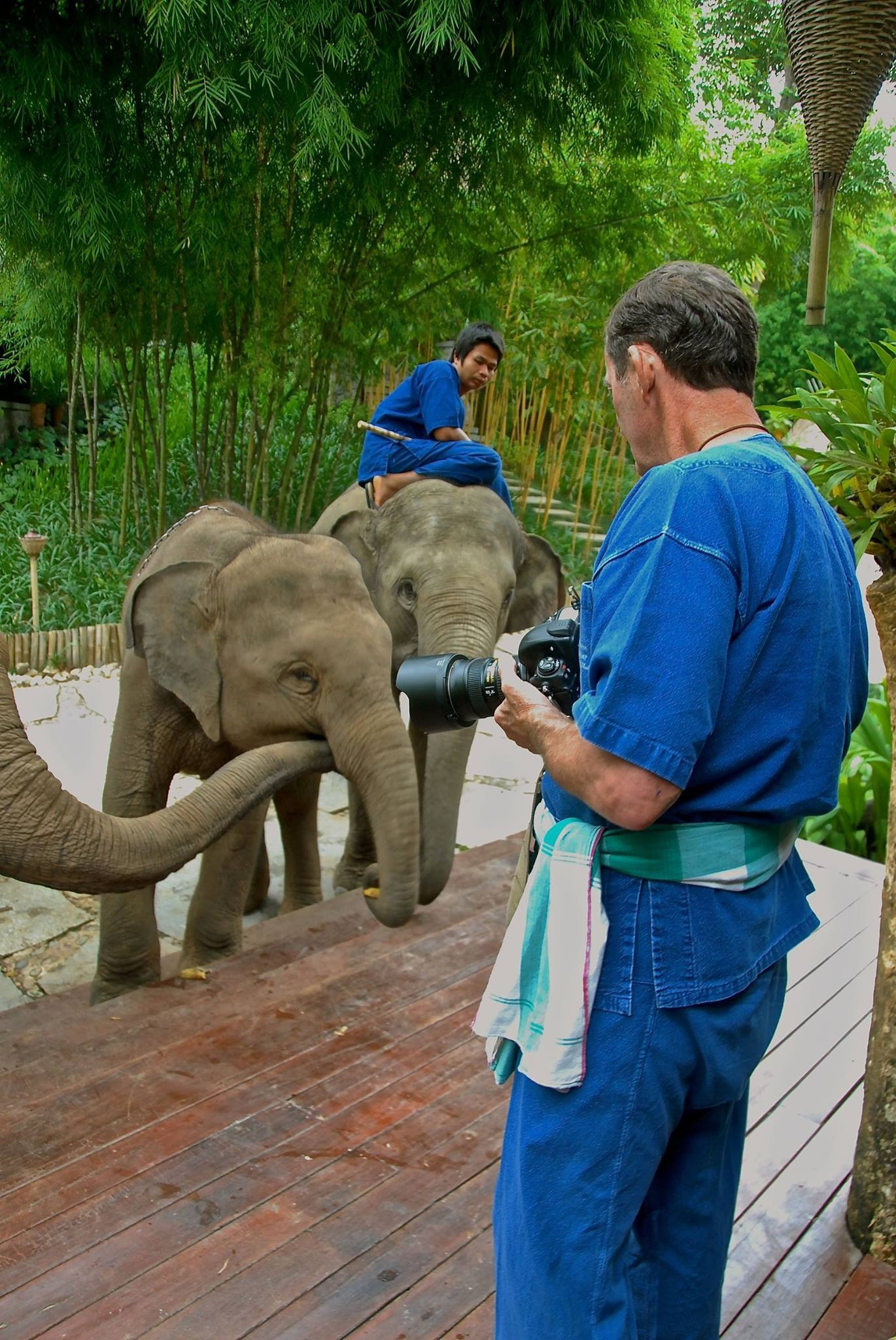 Yours truly - taking my first lesson as a Mahout - Thailand 2016 by Robert Malin Young
