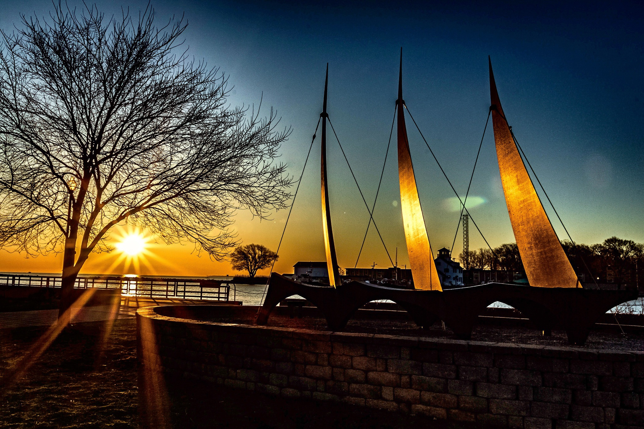 Sunrise over Lake Ontario at 3 Sails Sculpture by Robert Eichas