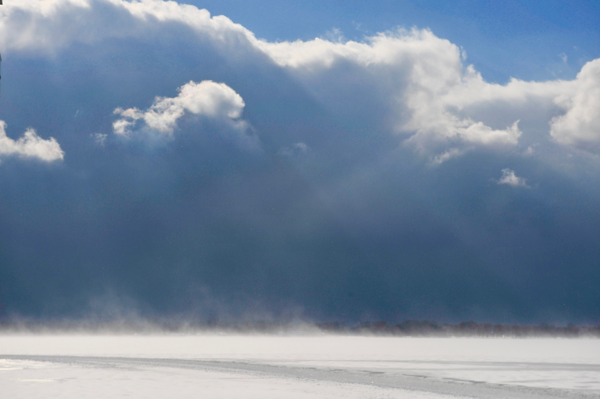 Blowing Lake Snow on the shore of Centre Island by Karen Bekker