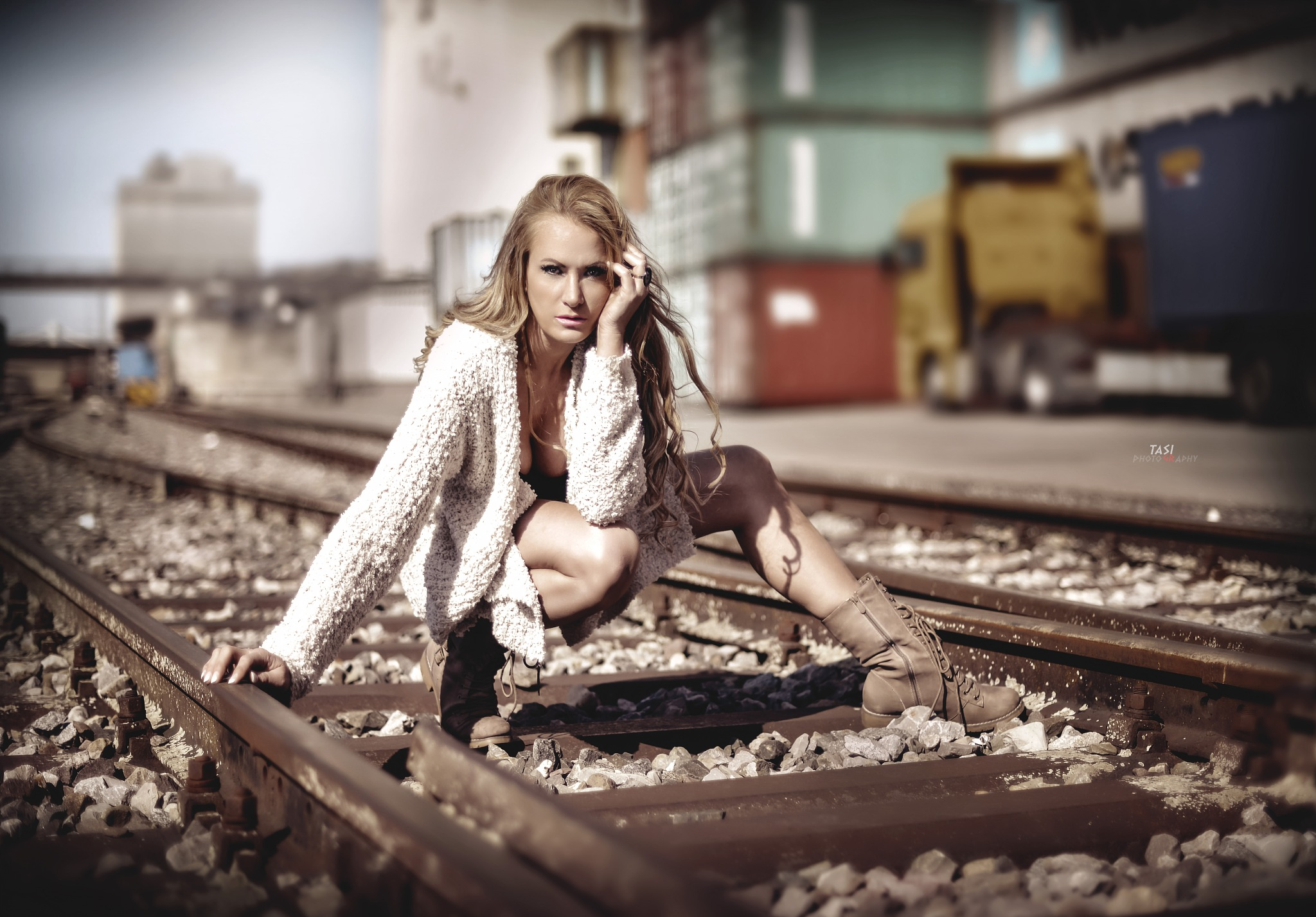 Photo in Portrait #rail #girl #young #body #legs #skin #face #train #station #street #industrial #pretty #hair #hot #sexy #outdoor #light #creative #railway #one #transportation #portrait #fashion #railroad #cardigan #boots