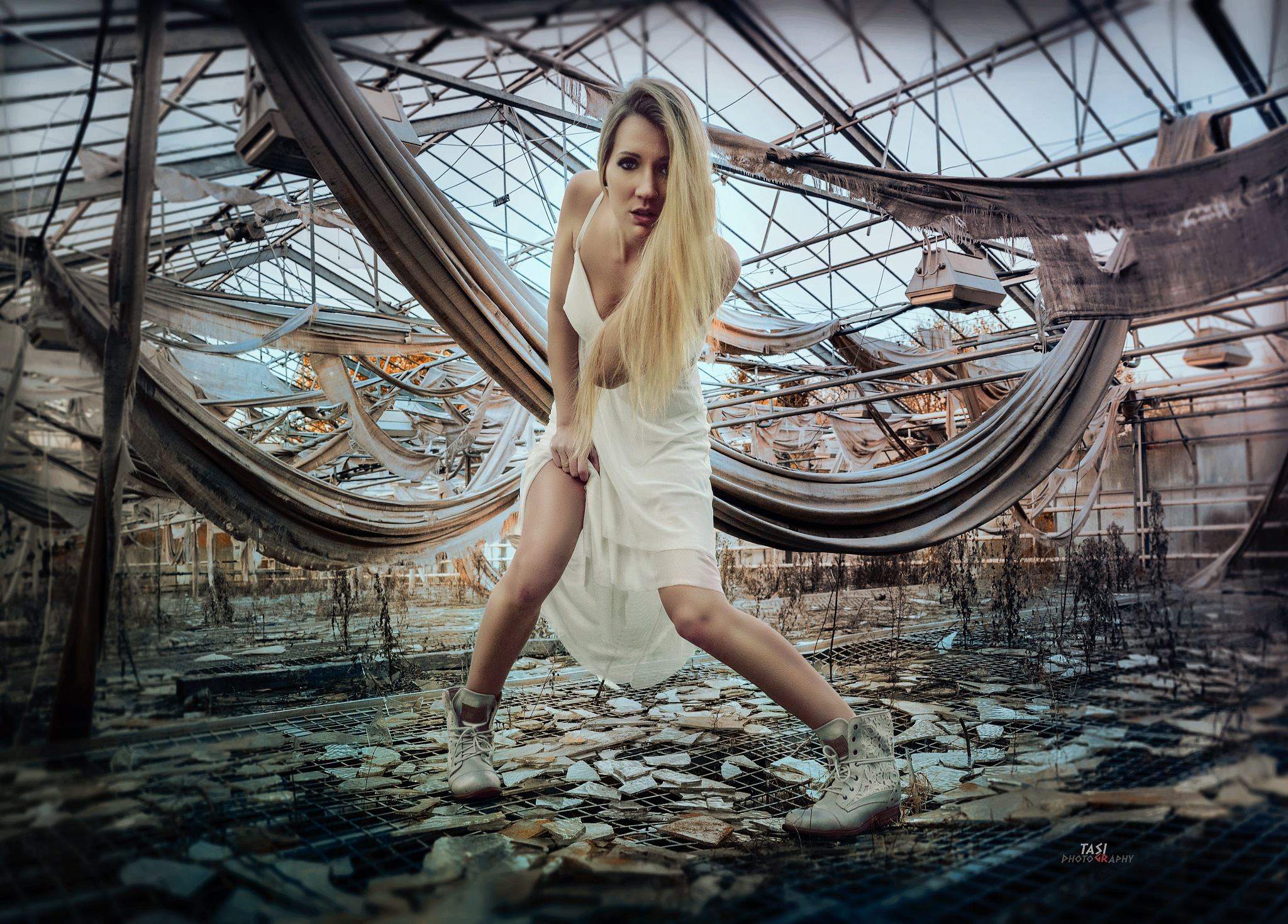 Photo in Portrait #girl #blond #glasshouse #beauty #creepy #shoes #lost place #body #legs #old #urban #style #model #posing