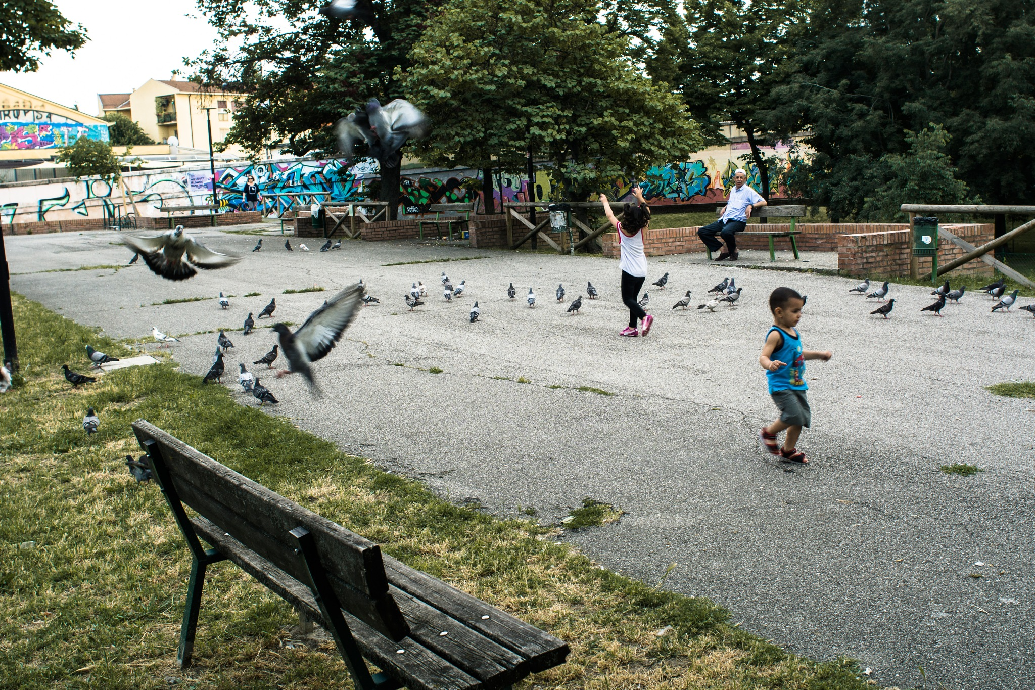 Bologna - kids and pigeons by tomasogrillini