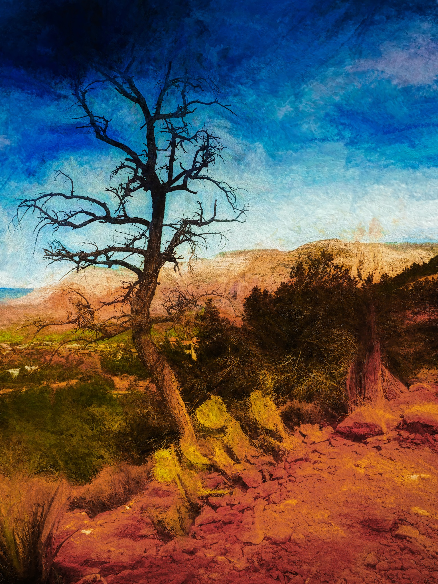 Sedona, Arizona Colored Chalk Drawing by David Walters