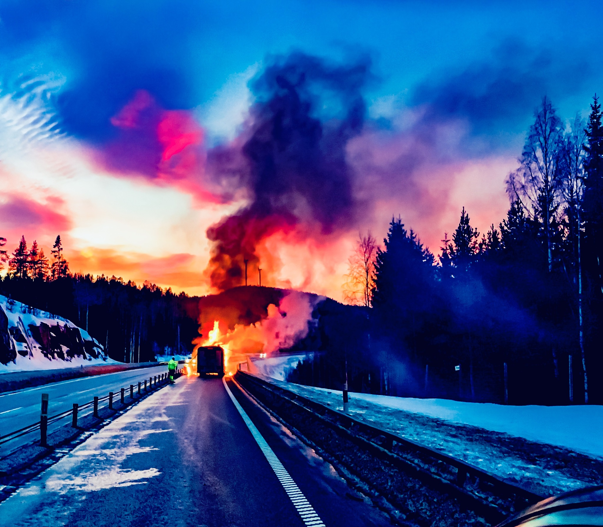 Bus burned down  by Robert Grundel