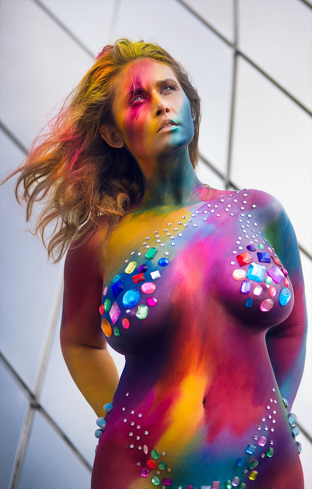 Photo in Random #rainbow #body paint #color #vibrance #nude #gems #jewels #watercolor #woman #girl #washington state #tacoma #tacoma washington #curves #curvy