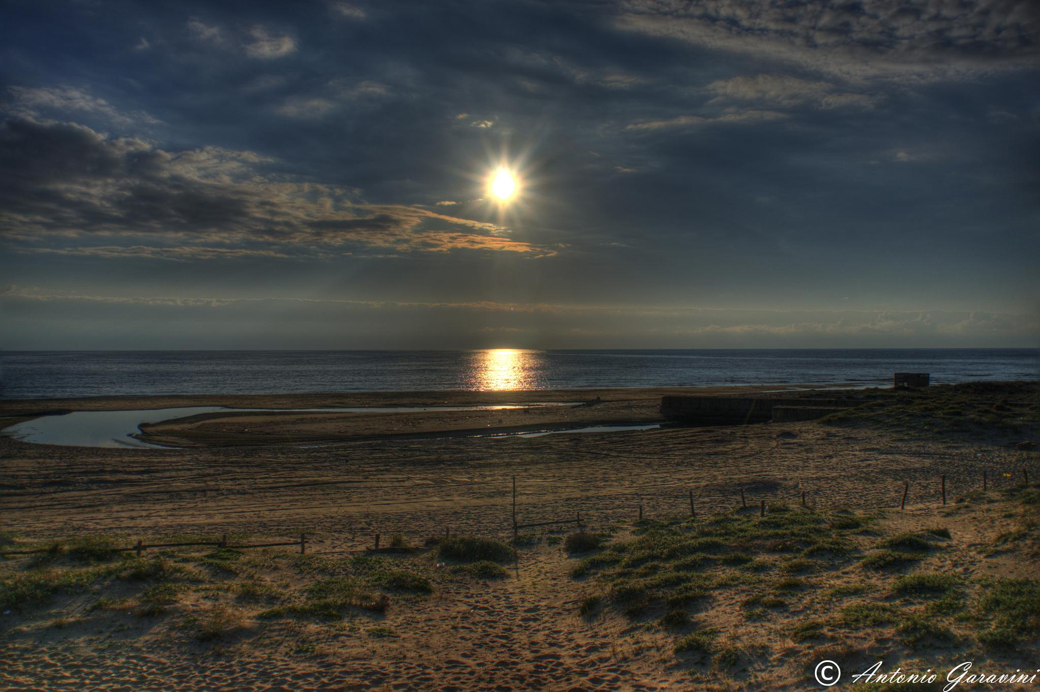 Photo in HDRI #sunset #sea #ostia