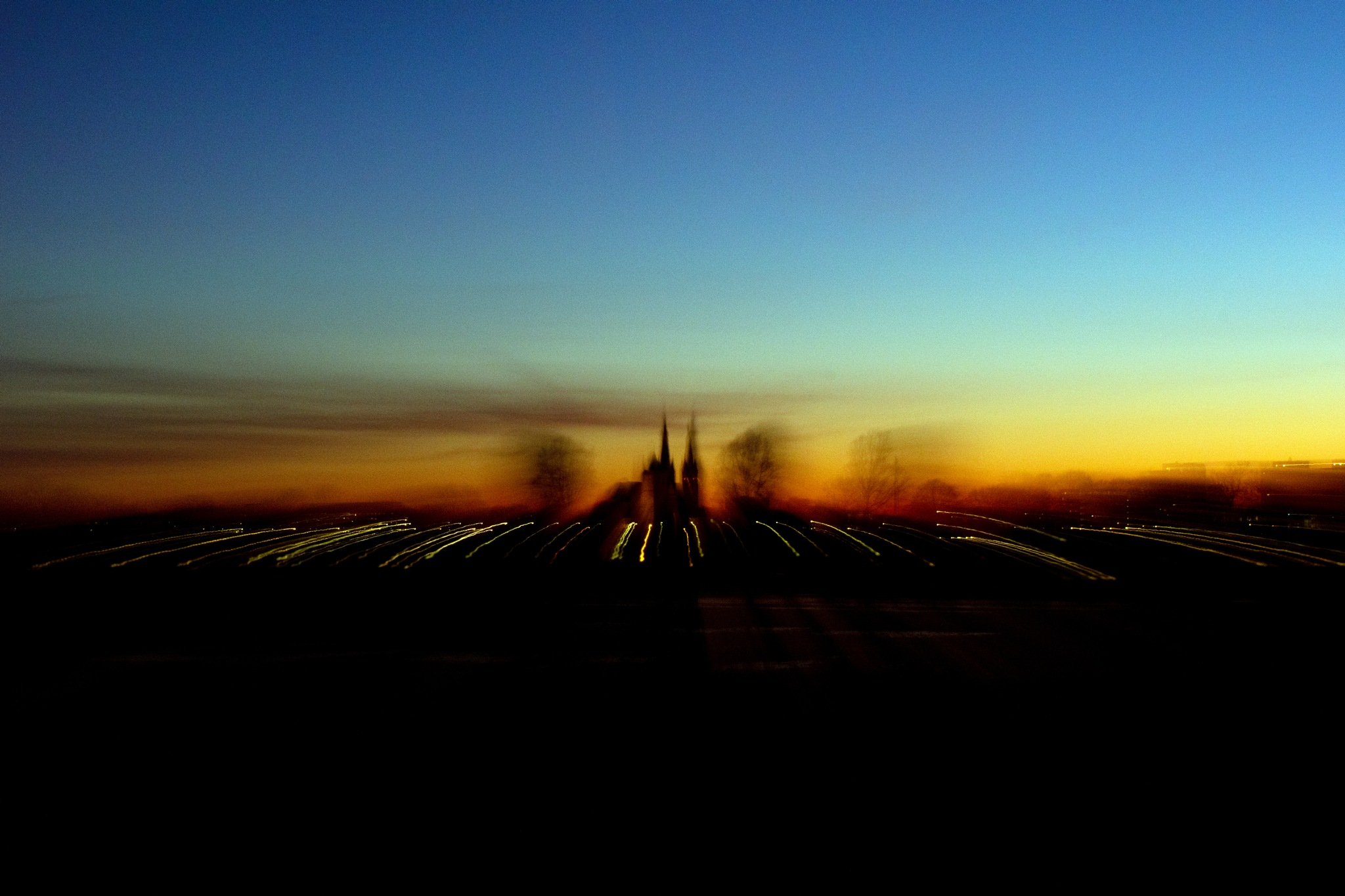 Photo in Landscape #night #night church #cuijk #moving #colours