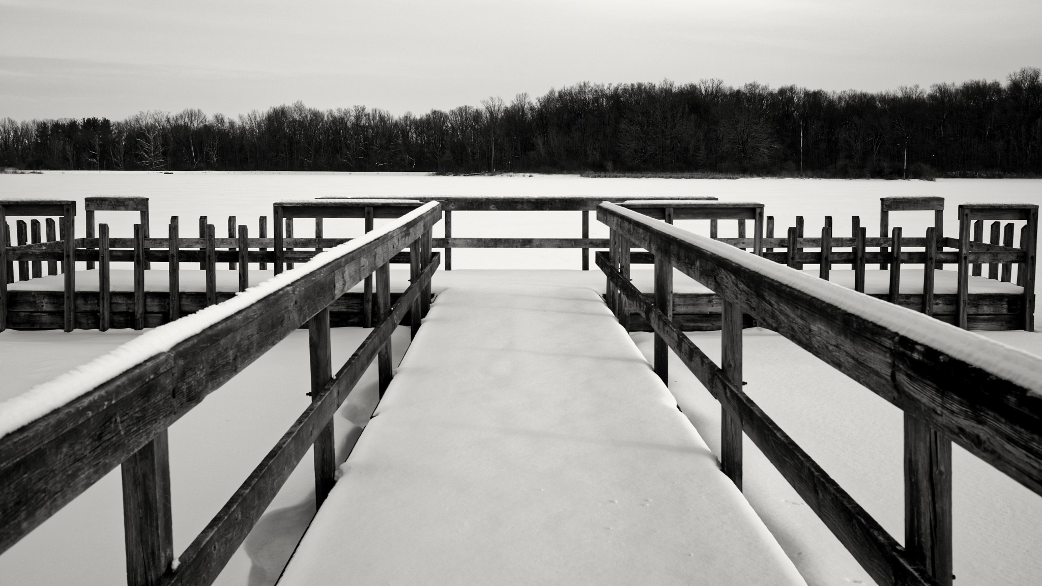 Snow Covered Dock by Nick Mirkovich