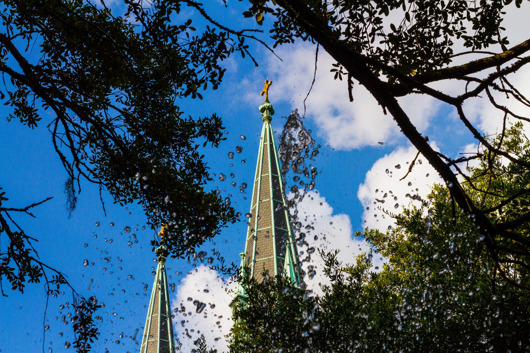 savannah fountain and church  by Tyler Dewland