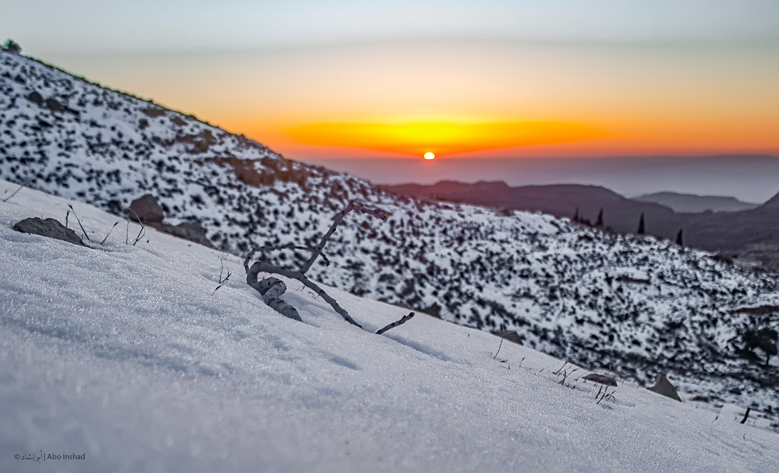 Sunset with Snow  by Abo Inshad