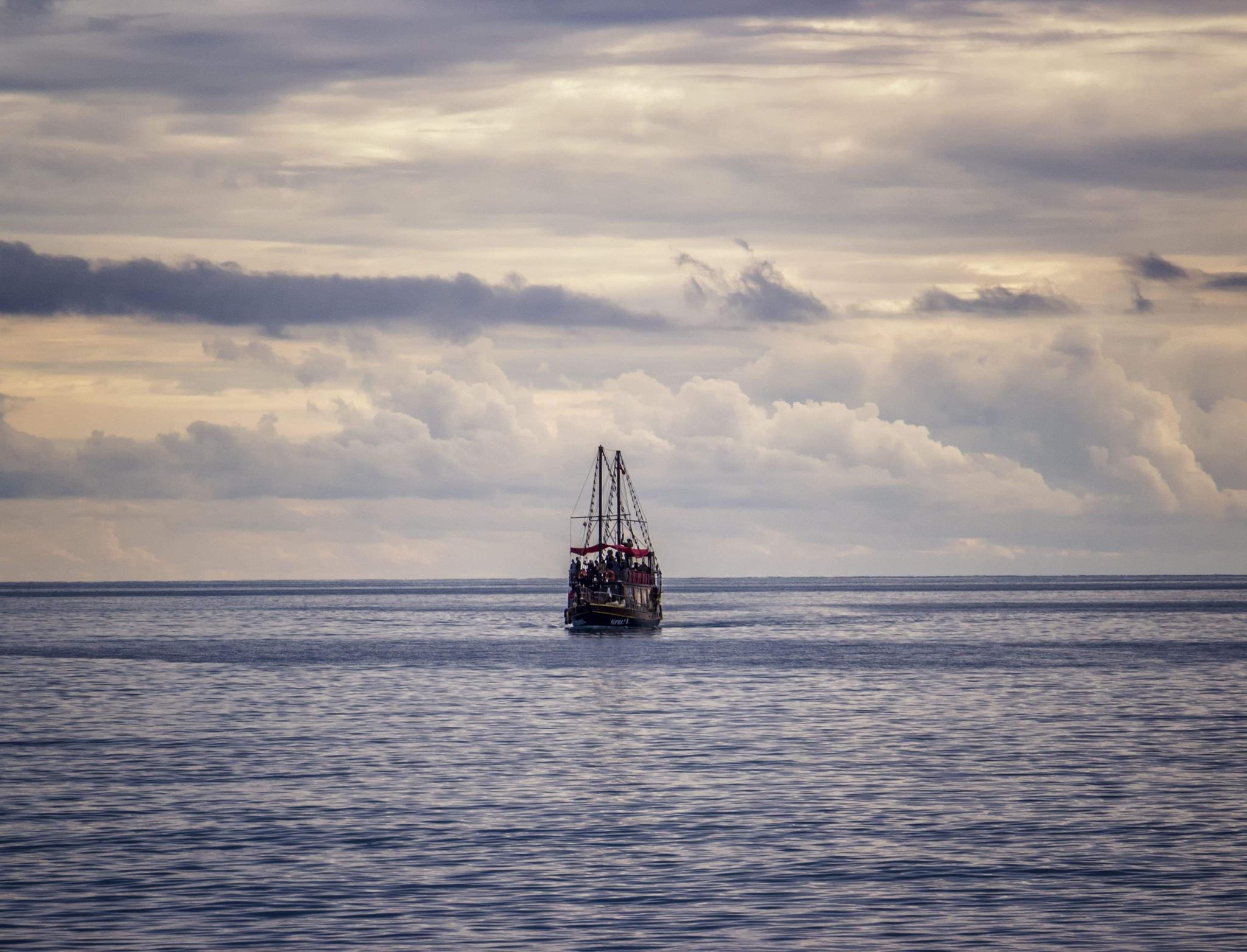 Lonely boat on the Mediterranean Sea  by Doris Bornheim