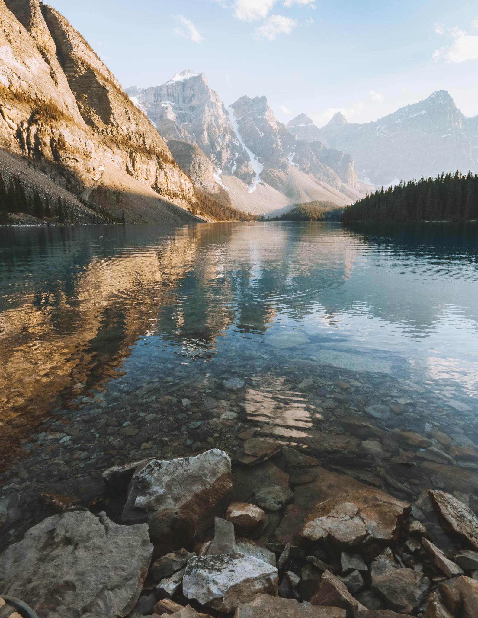 Calm Moraine Lake by josiahtbonner
