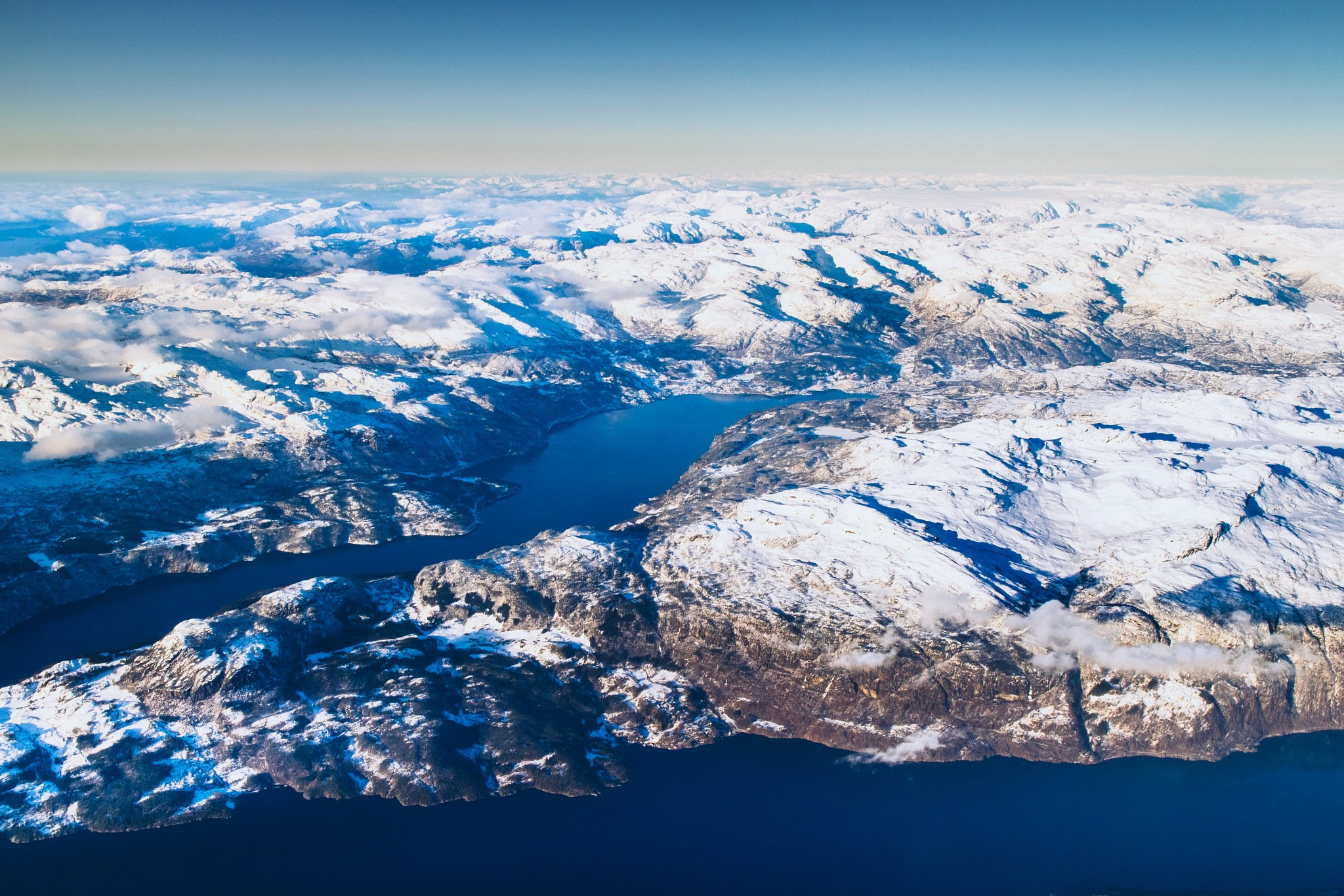 Photo in Landscape #airphoto #fjord #snow #blue #white #mountains