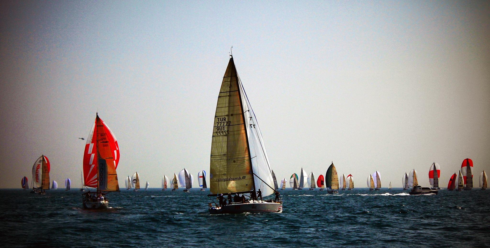 Sailboats on Bosphorus by Engin Dikkulak