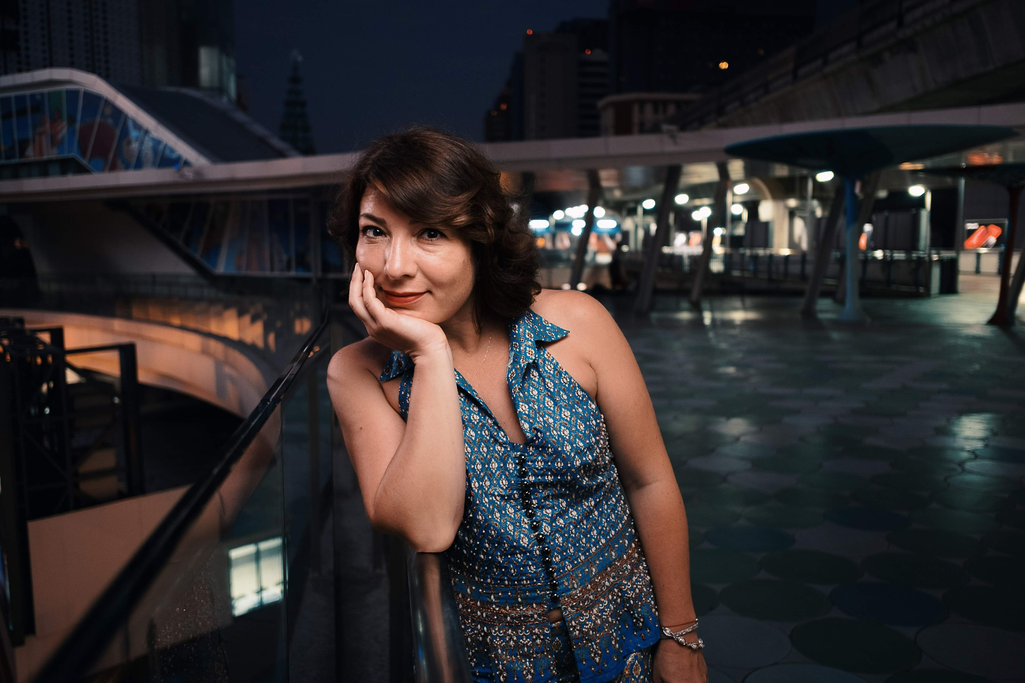 Photo in Portrait #woman #night #city #urban #bts #bangkok #headlight