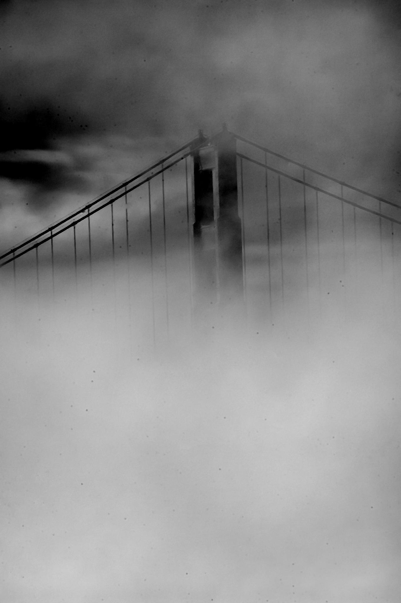 South Tower in Fog by Raphael Bruckner Photography