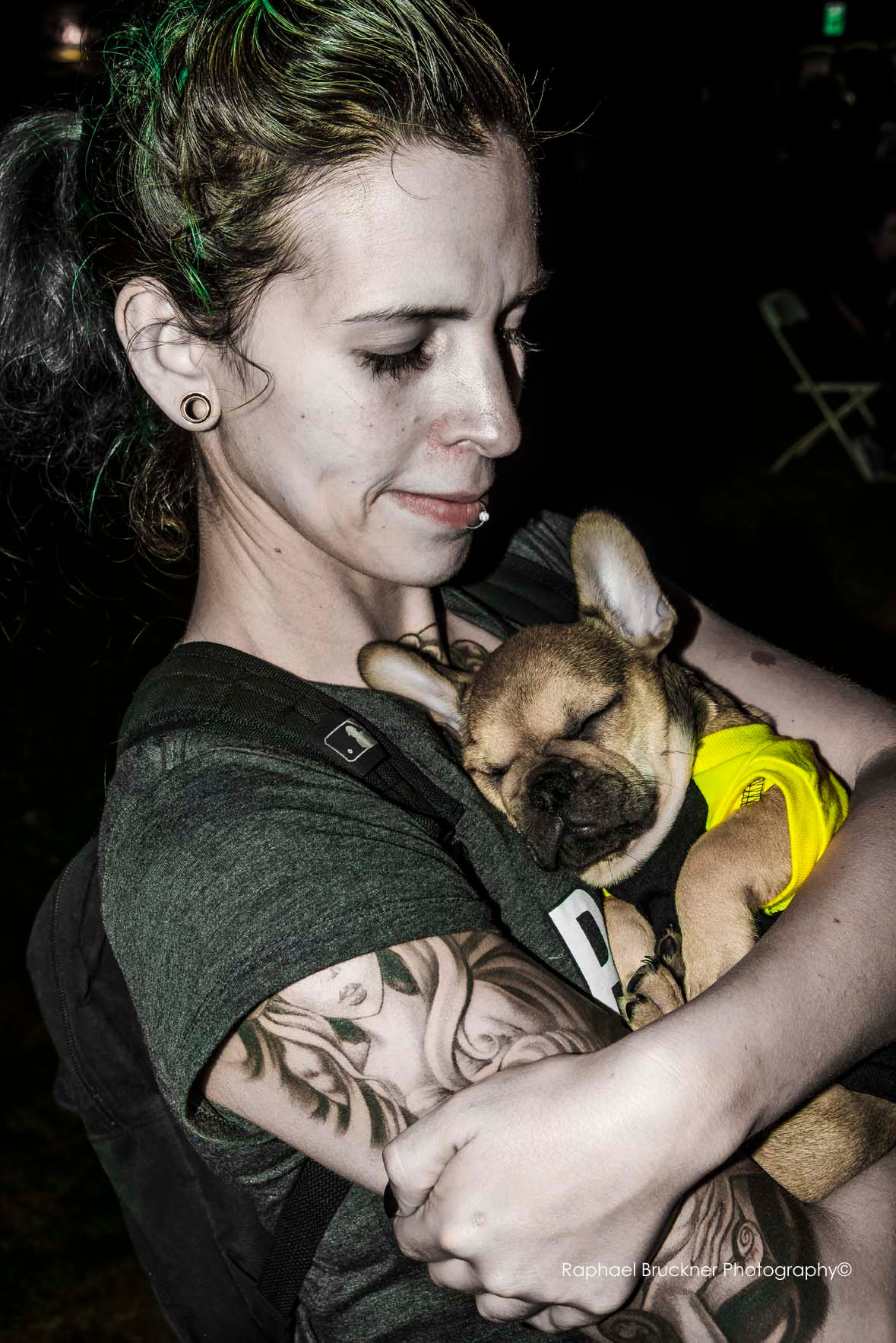 Woman With French Bulldog in Repose  by Raphael Bruckner Photography