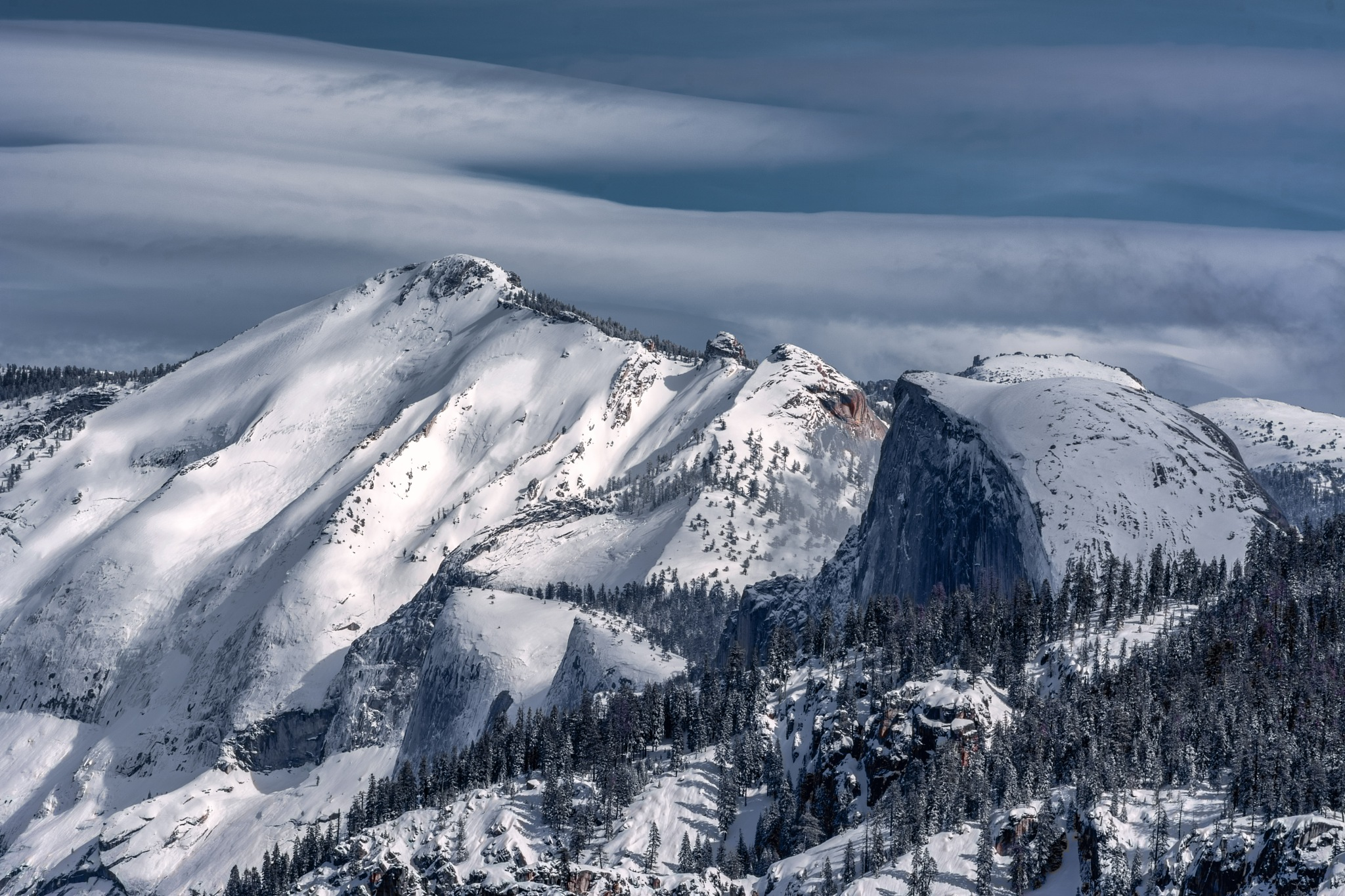 Half Dome and Clouds Rest in Winter, Yosemite by Michael Sheltzer