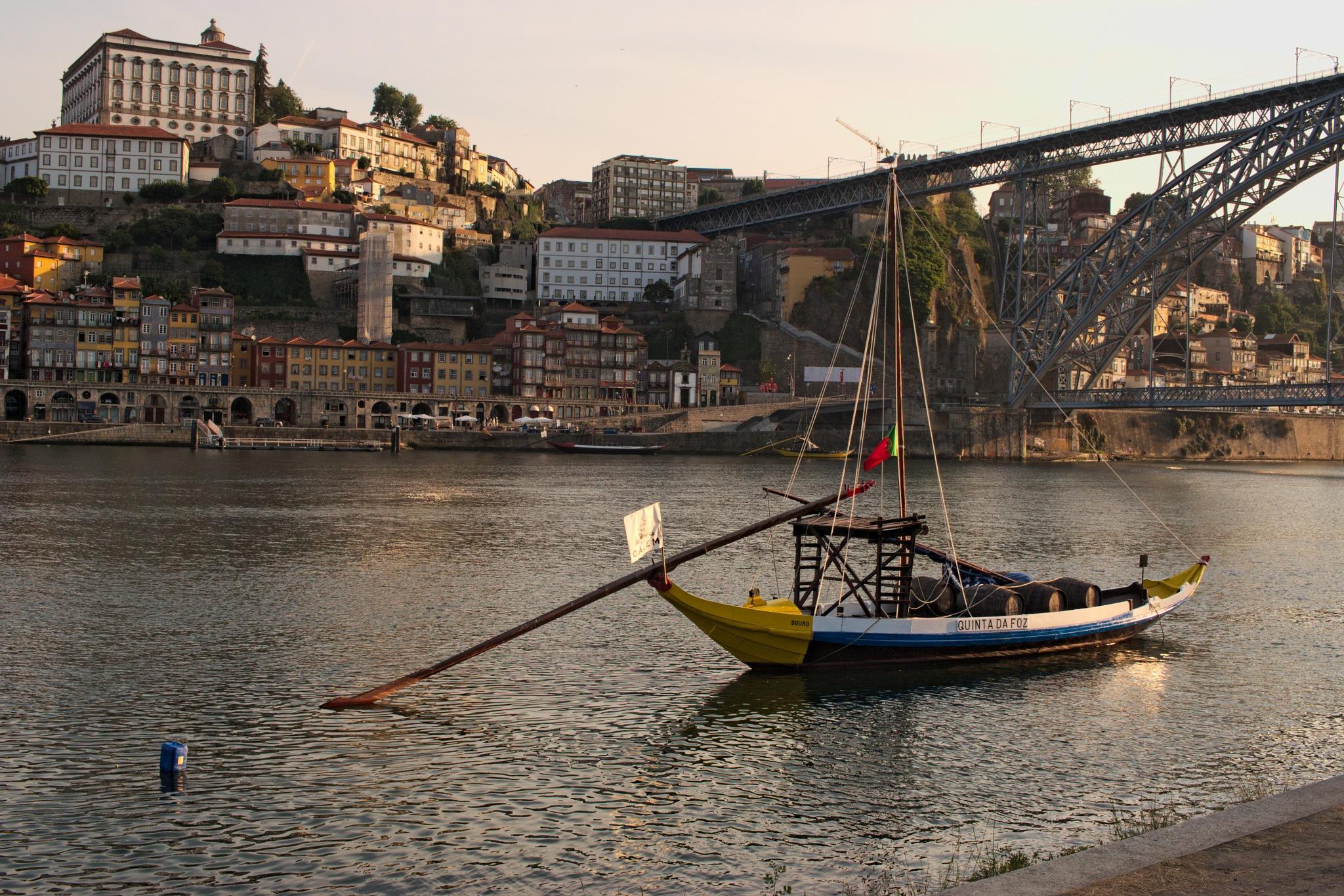 A rebelo boat on the Duoro River near Luiz I Bridge by Alexey Zalesny
