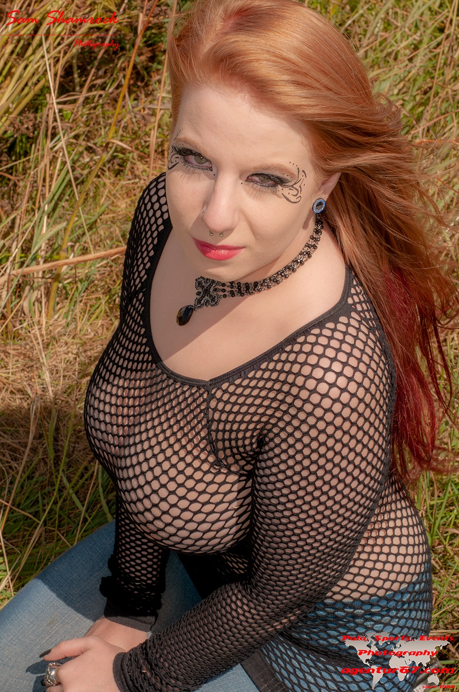 Photo in People #girl #woman #big breast #beautiful #net #red lips #red hair #long hair #sitting #jeans