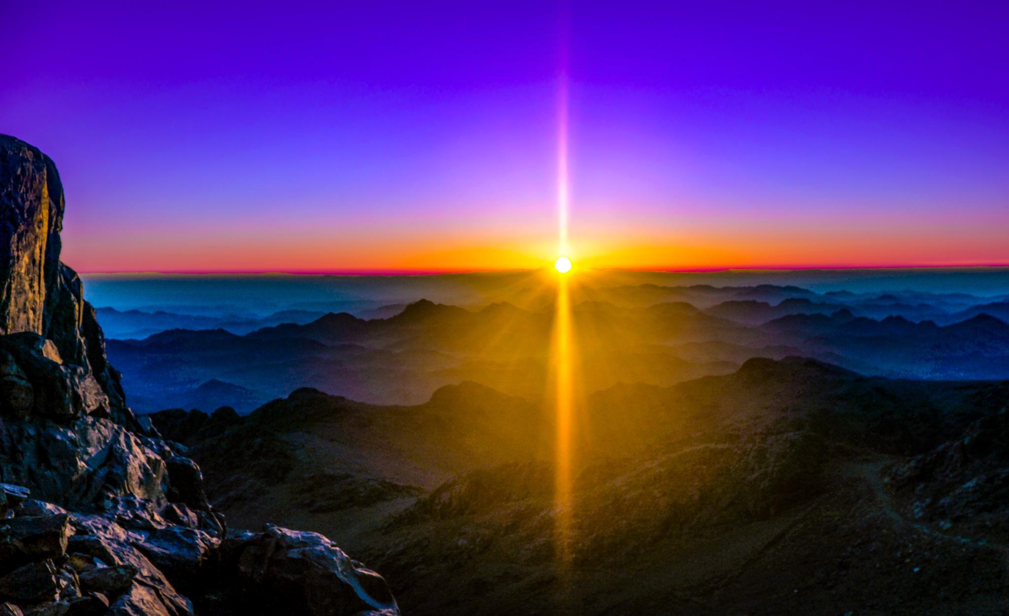 Sunrise over the Sinai Peninsula by Natallia Locricchio