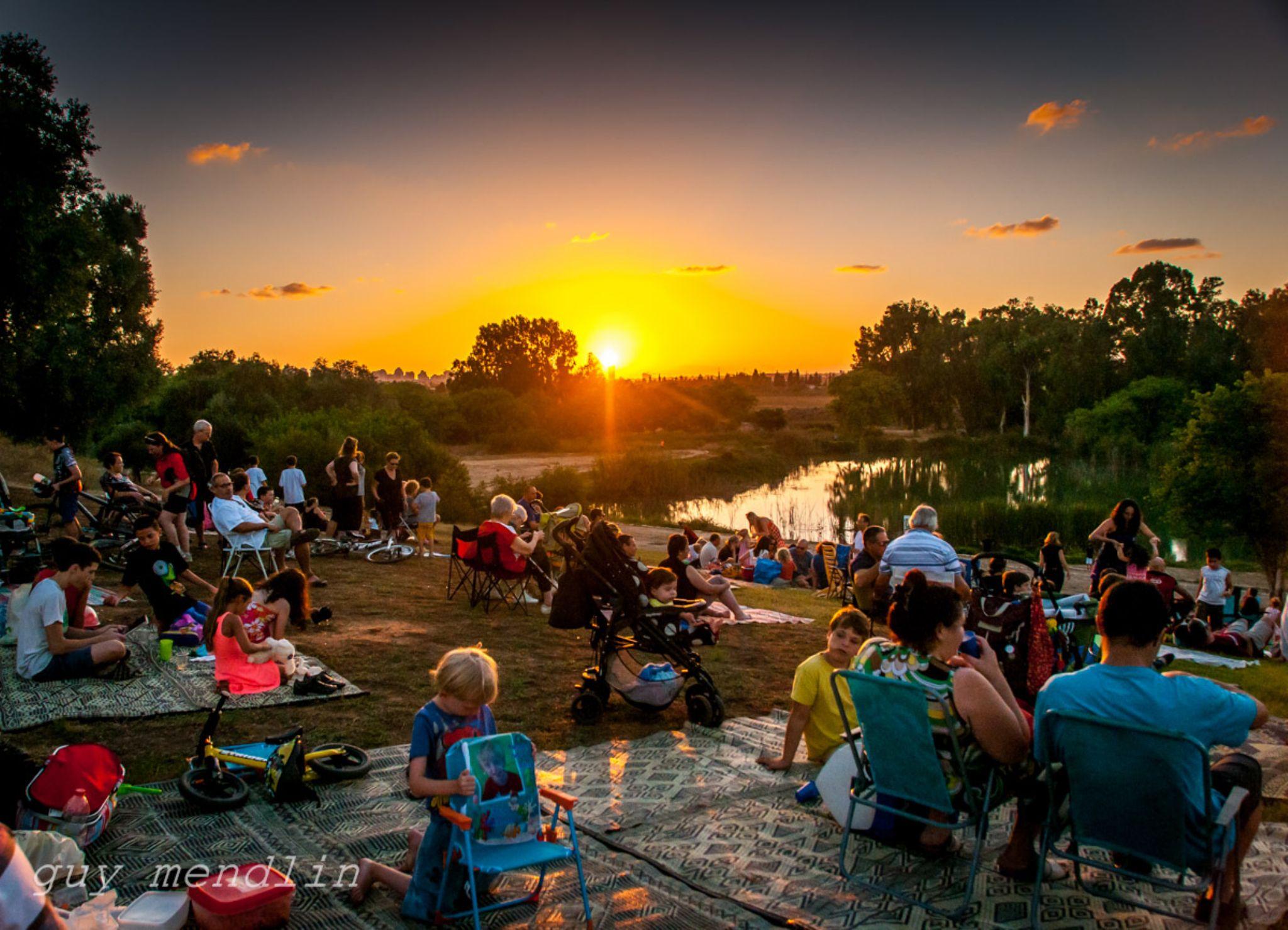 enjoying the park in the sunset by Guy Mendlin