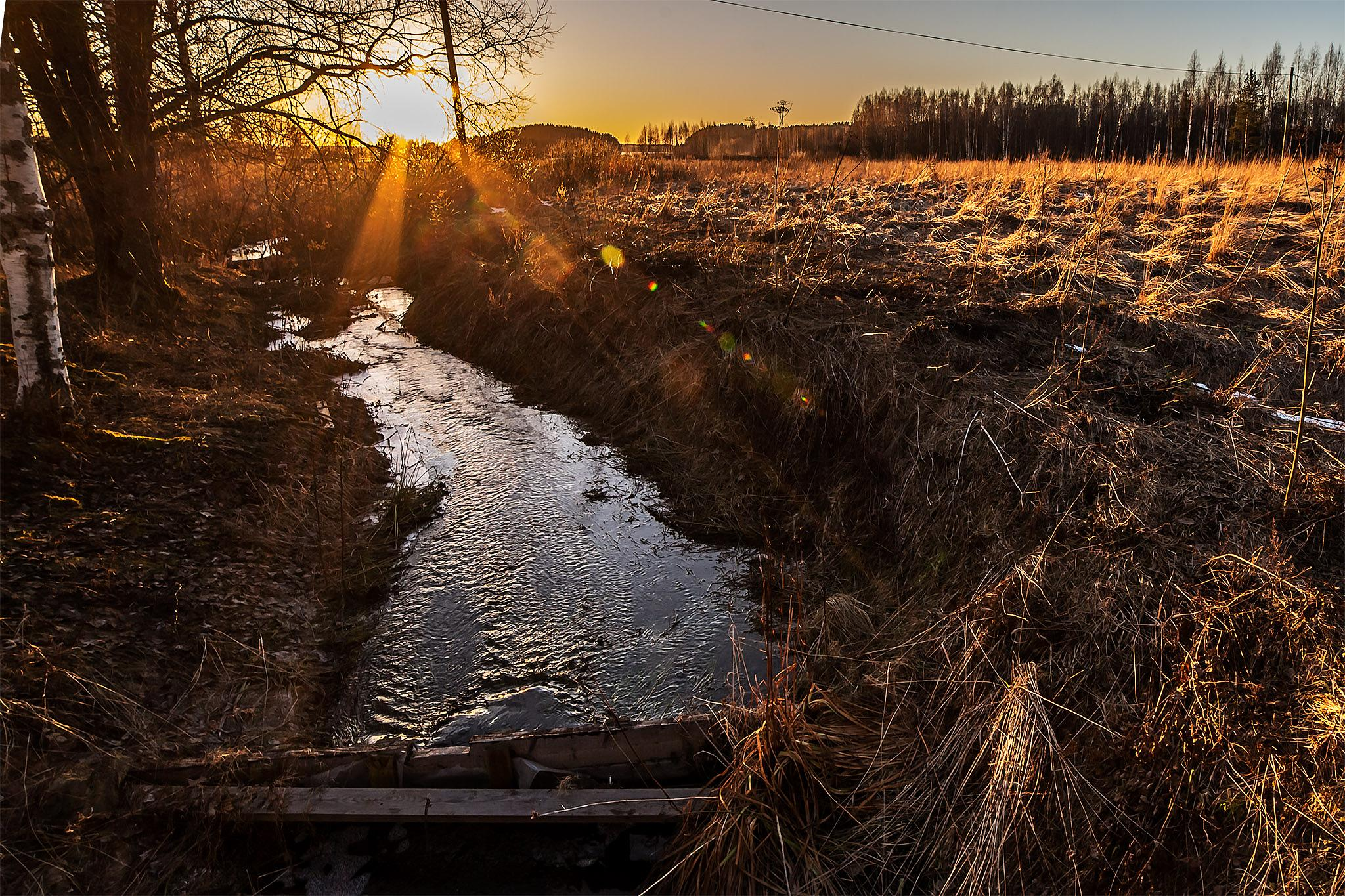 Ditch by evening by Harri Hedman