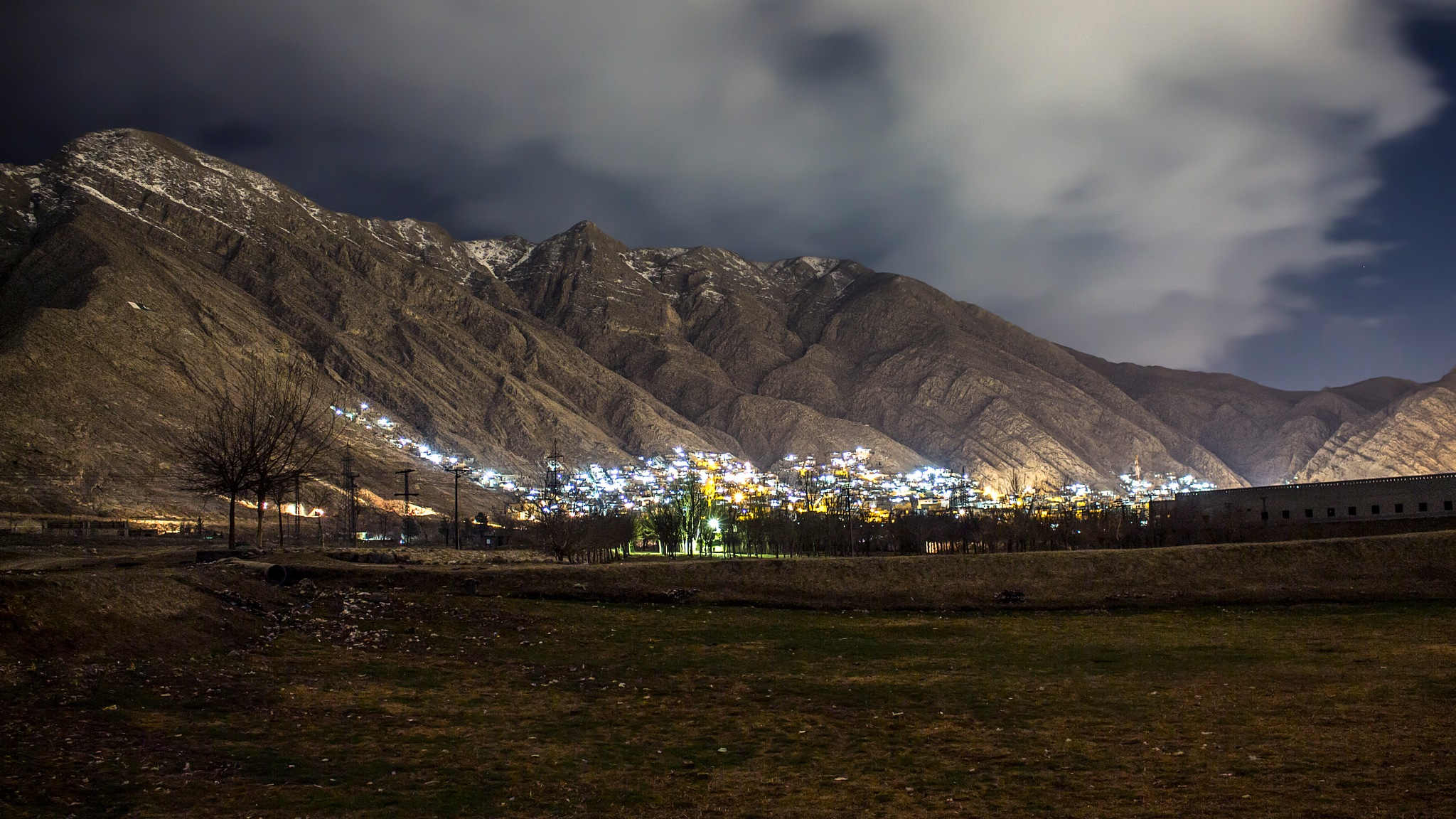 My Town in Winter at Night by Hasan Raza Khan