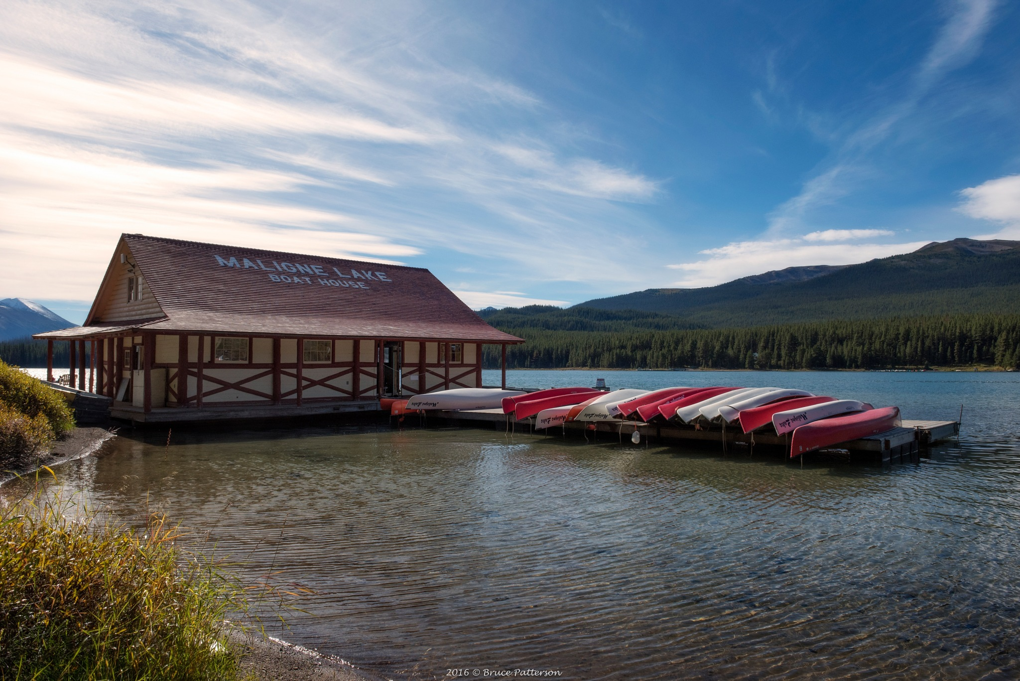 Maligne Lake Boathouse by Bruce Patterson
