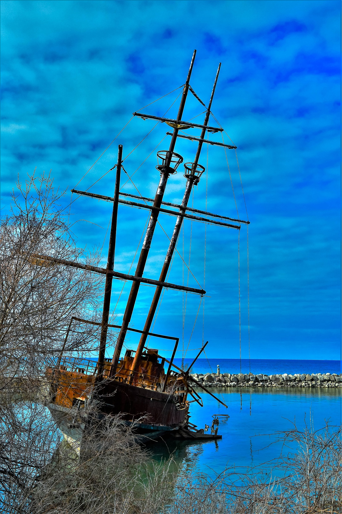 Photo in Random #trending #colours #denyspeel #sailships #outdoors #nature #blueskies #wrecks