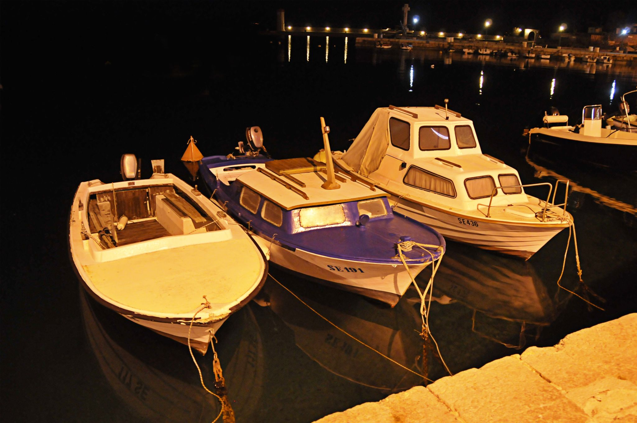 Boats in the night by Luca Bortolazzi Yupo