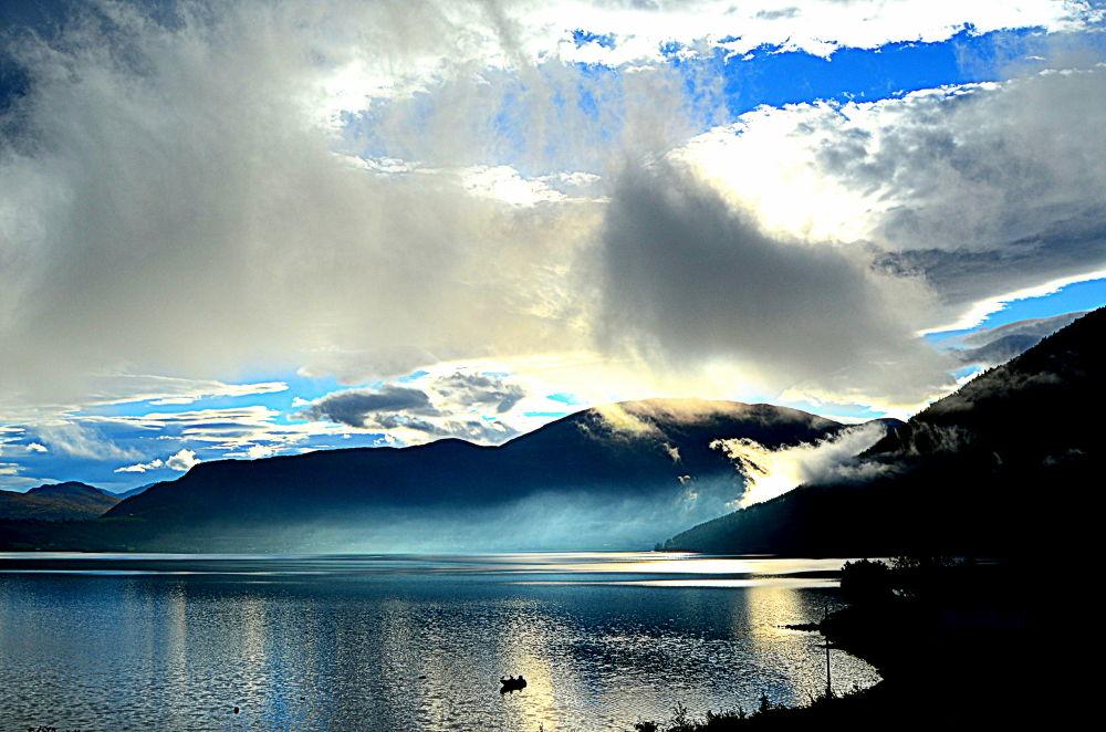 Photo in Random #landscape #nature #weather #sea #blue #boat #2013 #norway #ypa2013 #love