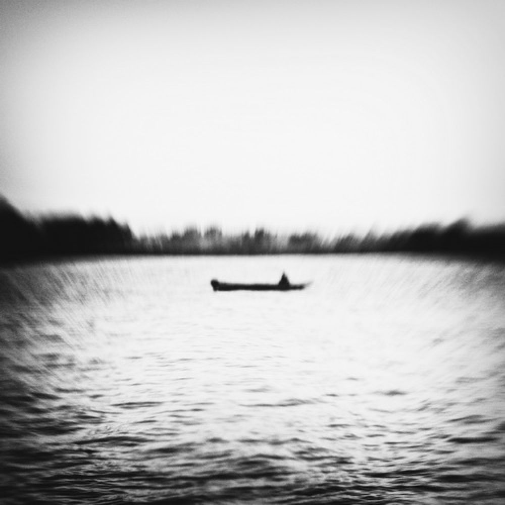 Photo in Black and White #black and white #lensbaby #fishing #danube