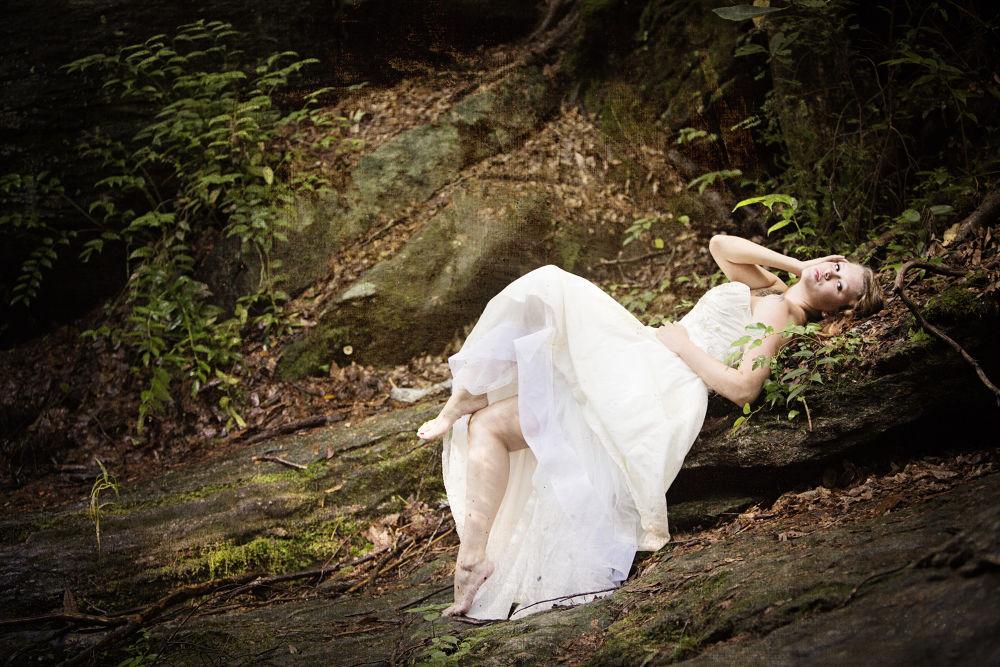Photo in Wedding #wedding #bride #trash the dress #woodsy