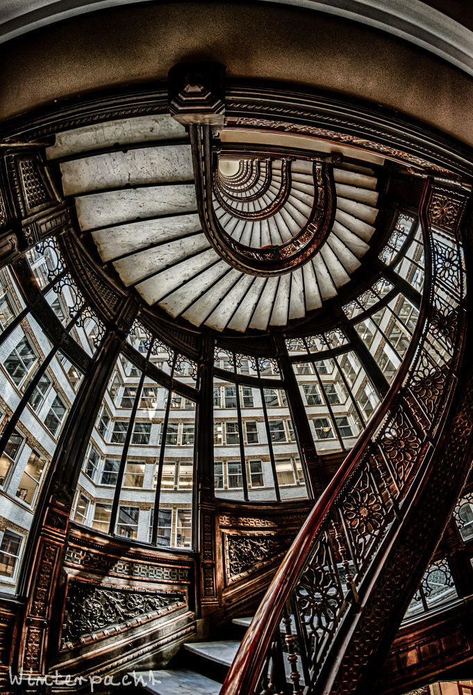 Photo in Architecture #rookery #hdr #staircase #rails #fish eye #wright #root