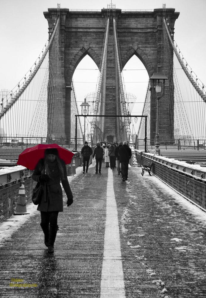 Red Umbrella Brooklyn Bridge Snowstorm 2013 by chadzilla1